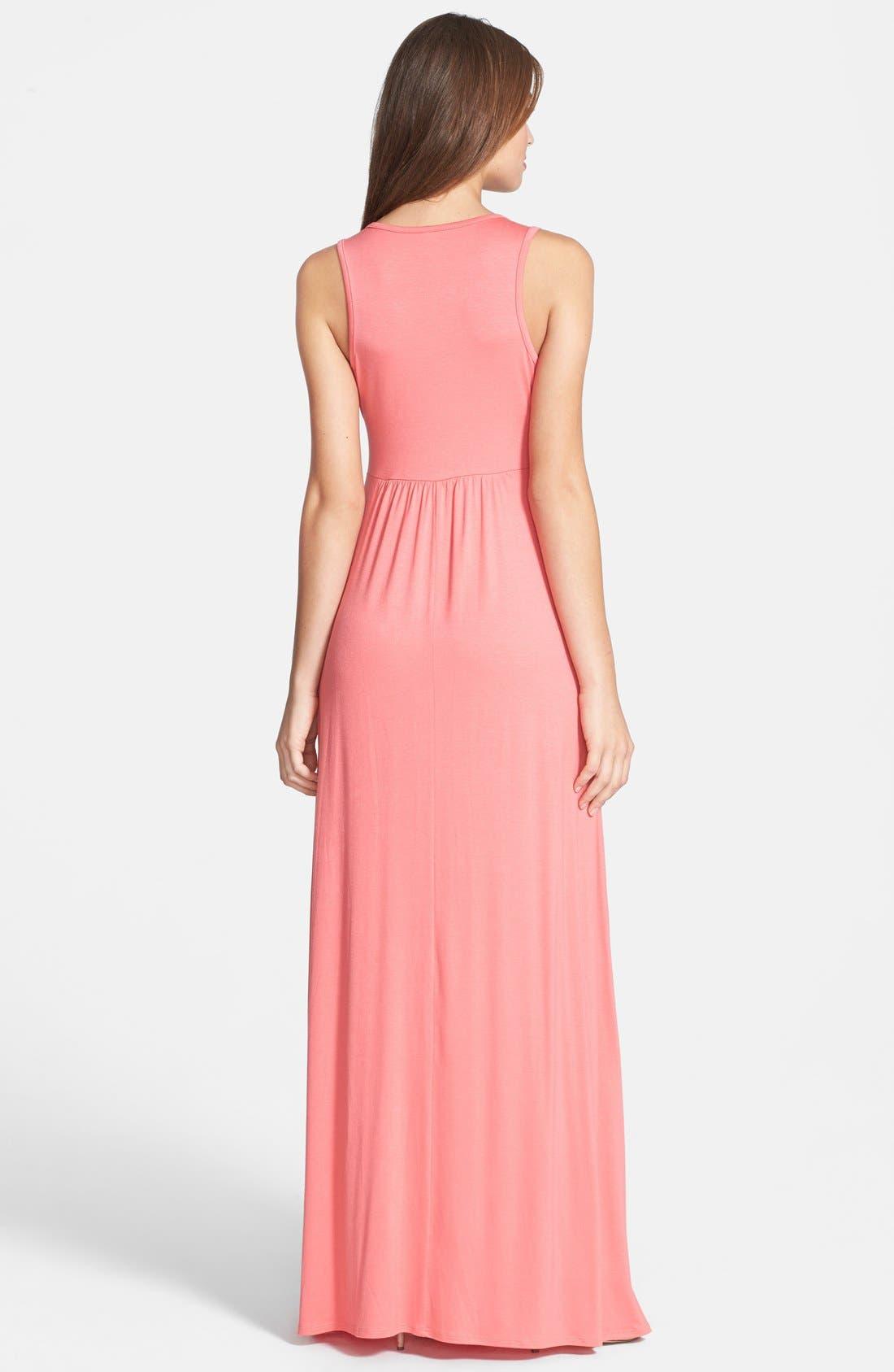 Alternate Image 2  - Loveappella V-Neck Stretch Knit Maxi Dress