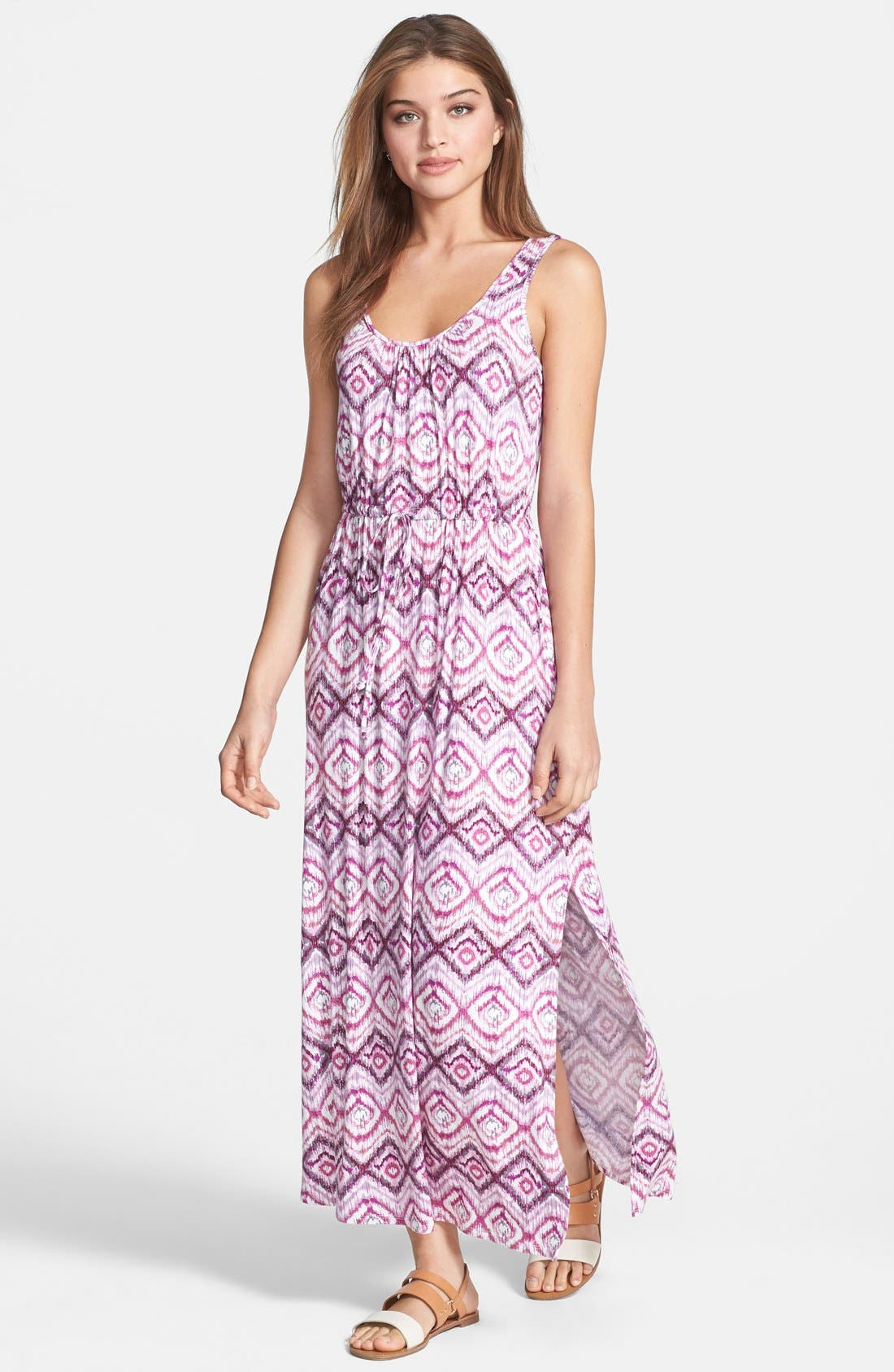 Alternate Image 1 Selected - Loveappella Drawstring Waist Maxi Dress