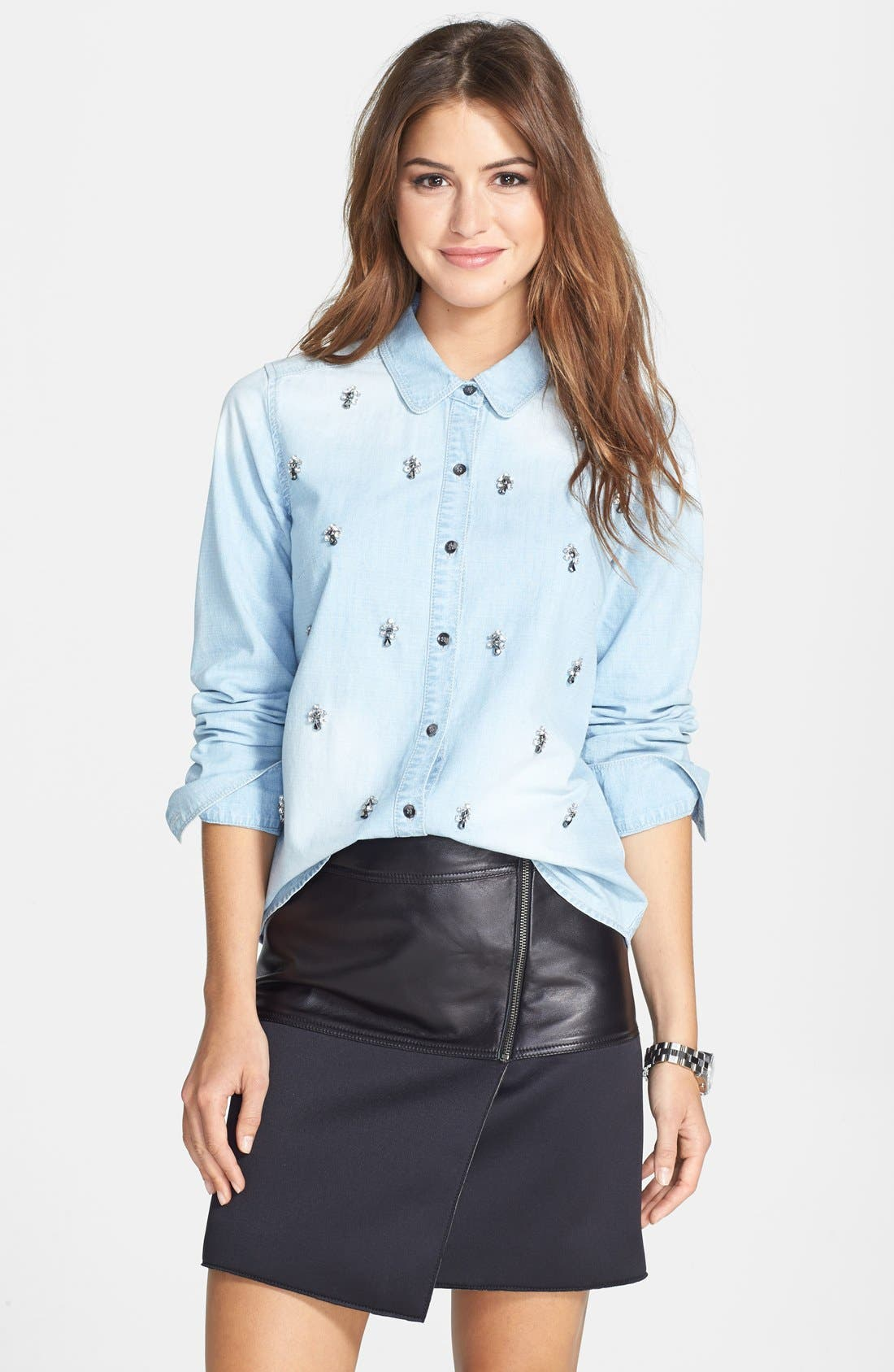 Alternate Image 4  - Halogen® Embellished Denim Shirt (Regular & Petite)