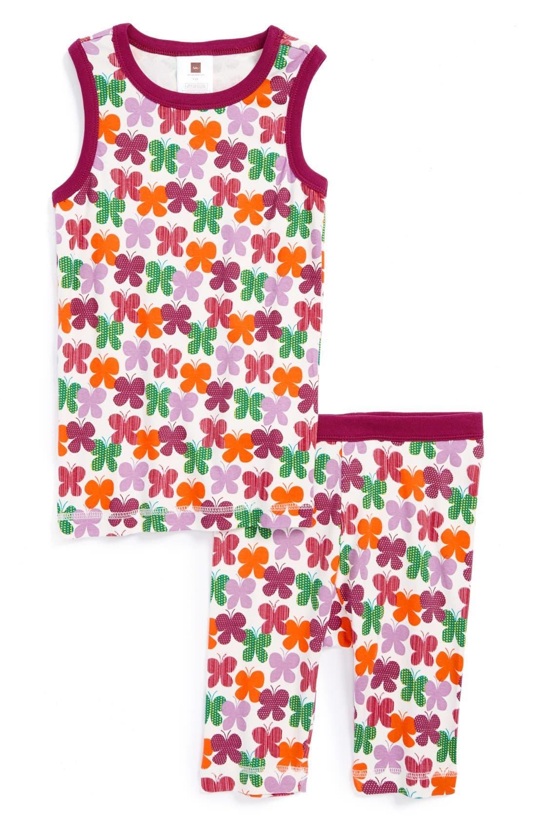 Main Image - Tea Collection 'Swirling Butterflies' Two-Piece Fitted Pajamas (Little Girls & Big Girls)