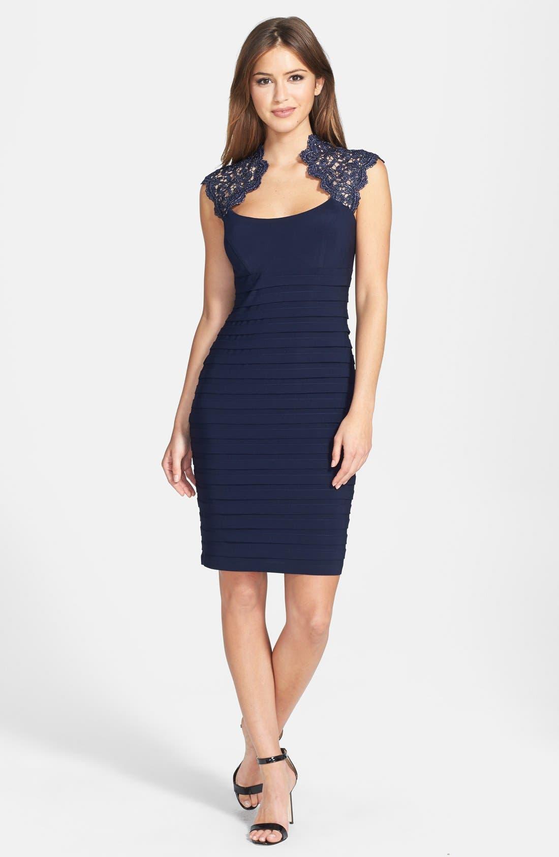 Alternate Image 3  - Xscape Lace Cap Sleeve Jersey Body-Con Dress