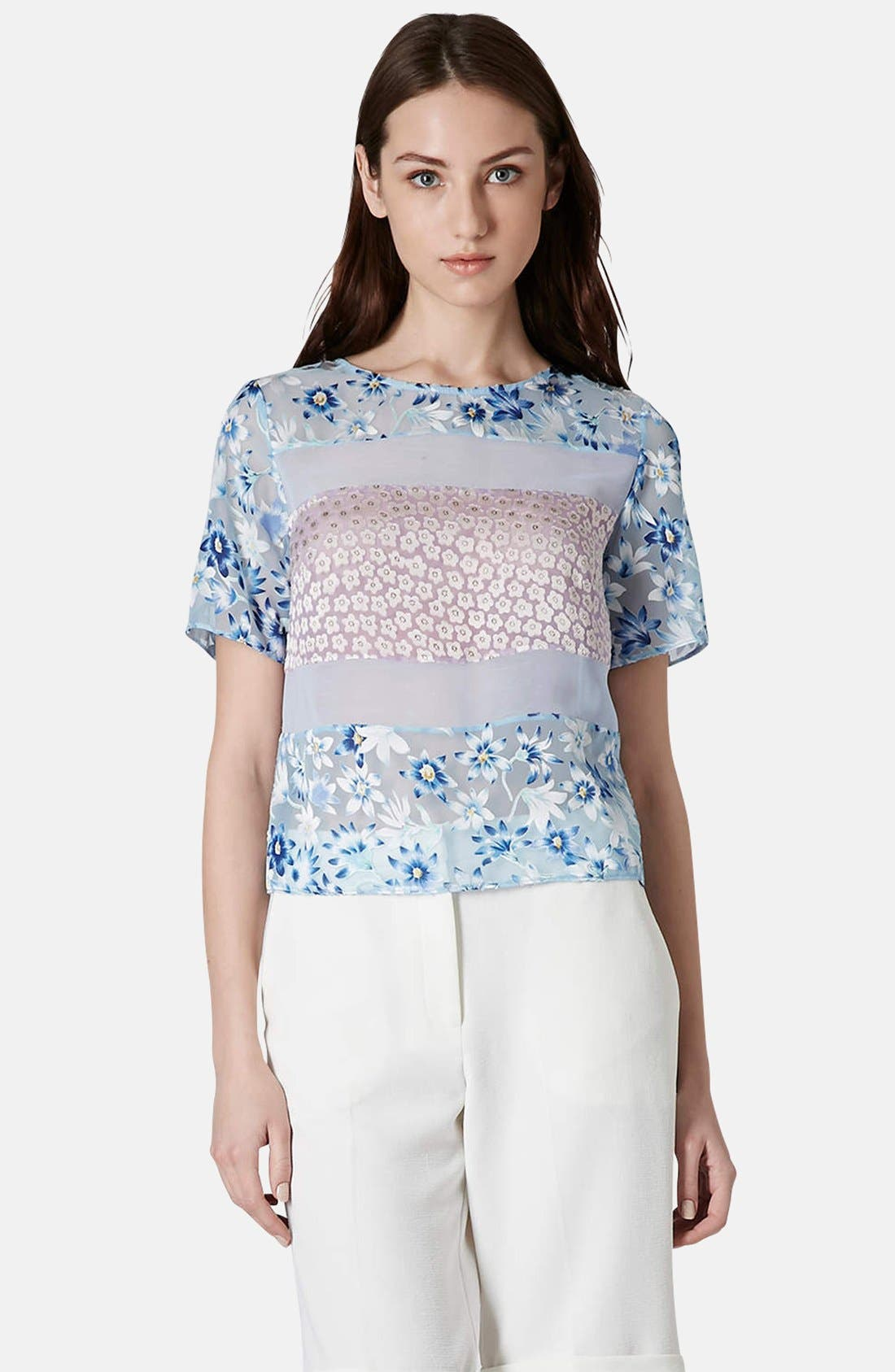 Alternate Image 1 Selected - Topshop Mixed Floral Woven Top