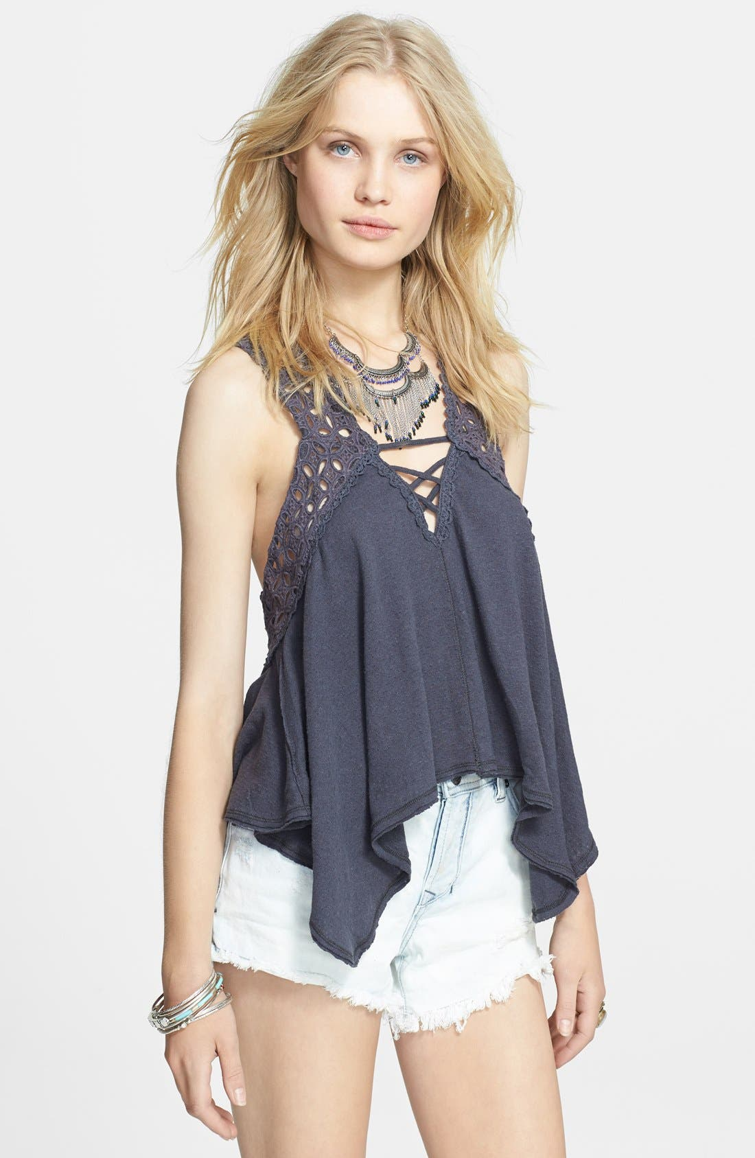 Main Image - Free People 'Run Around' Eyelet Linen & Cotton Top