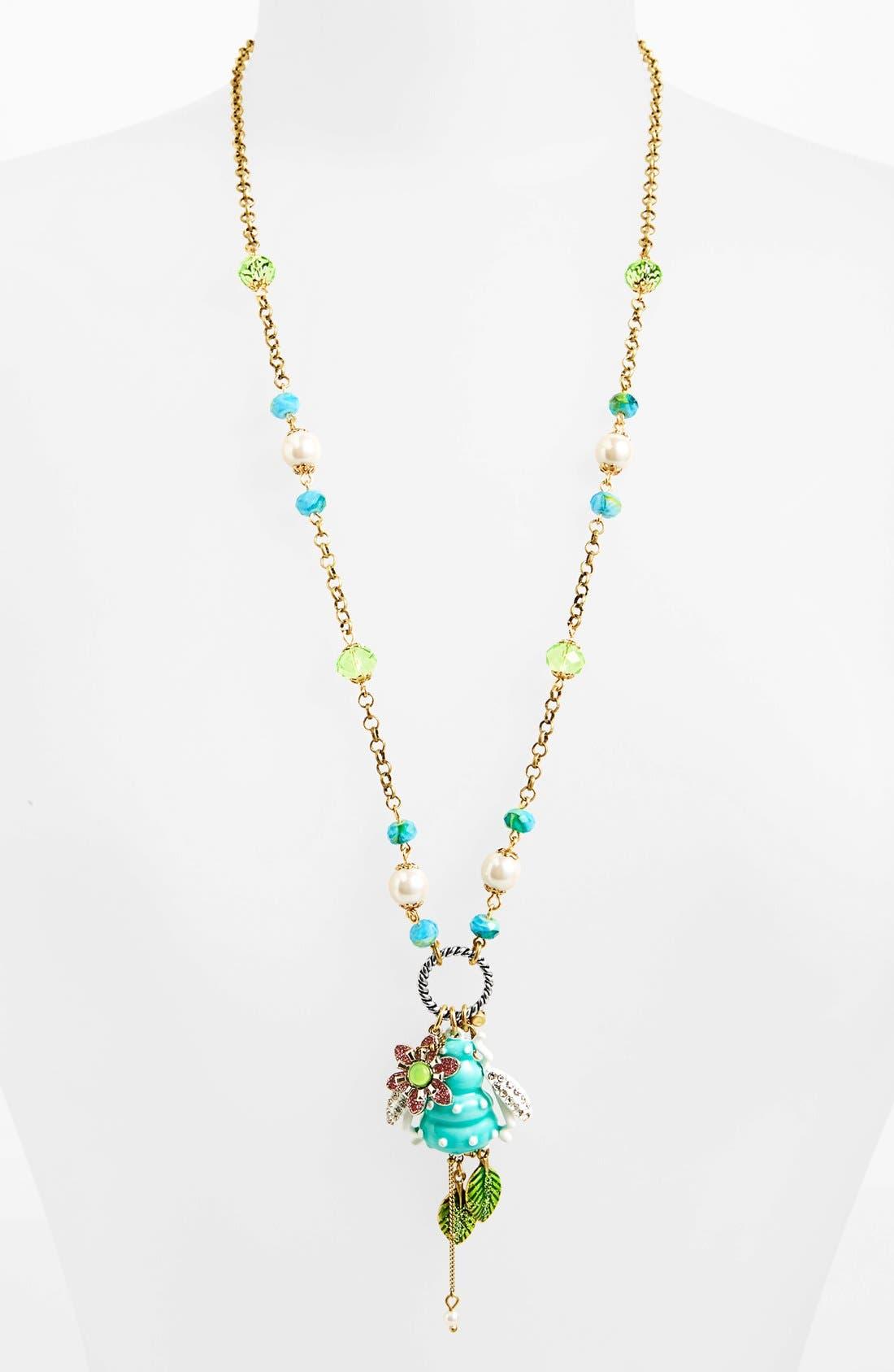 Main Image - Betsey Johnson 'Vintage Bugs' Long Pendant Necklace
