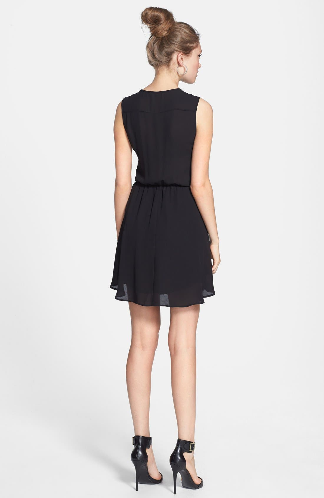Alternate Image 2  - Lush Ruffle V-Neck Skater Dress (Juniors)