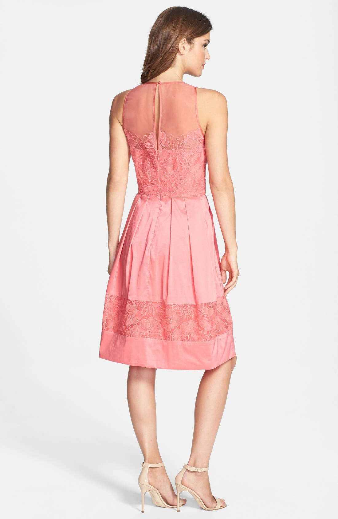 Alternate Image 2  - Maggy London Embroidered Detail Taffeta Fit & Flare Dress (Petite)