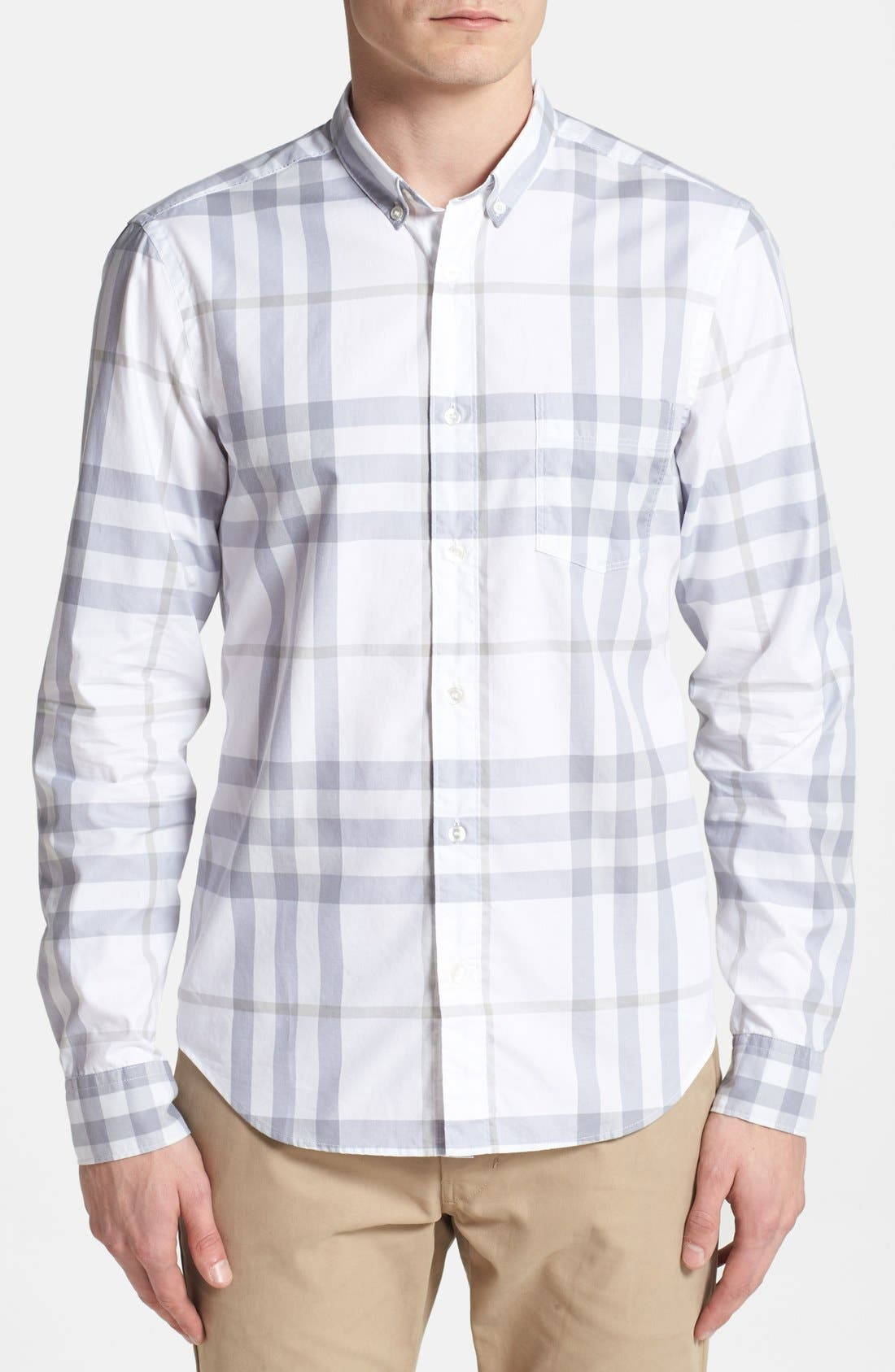 Main Image - Burberry Brit 'Niall' Check Trim Fit Cotton Sport Shirt