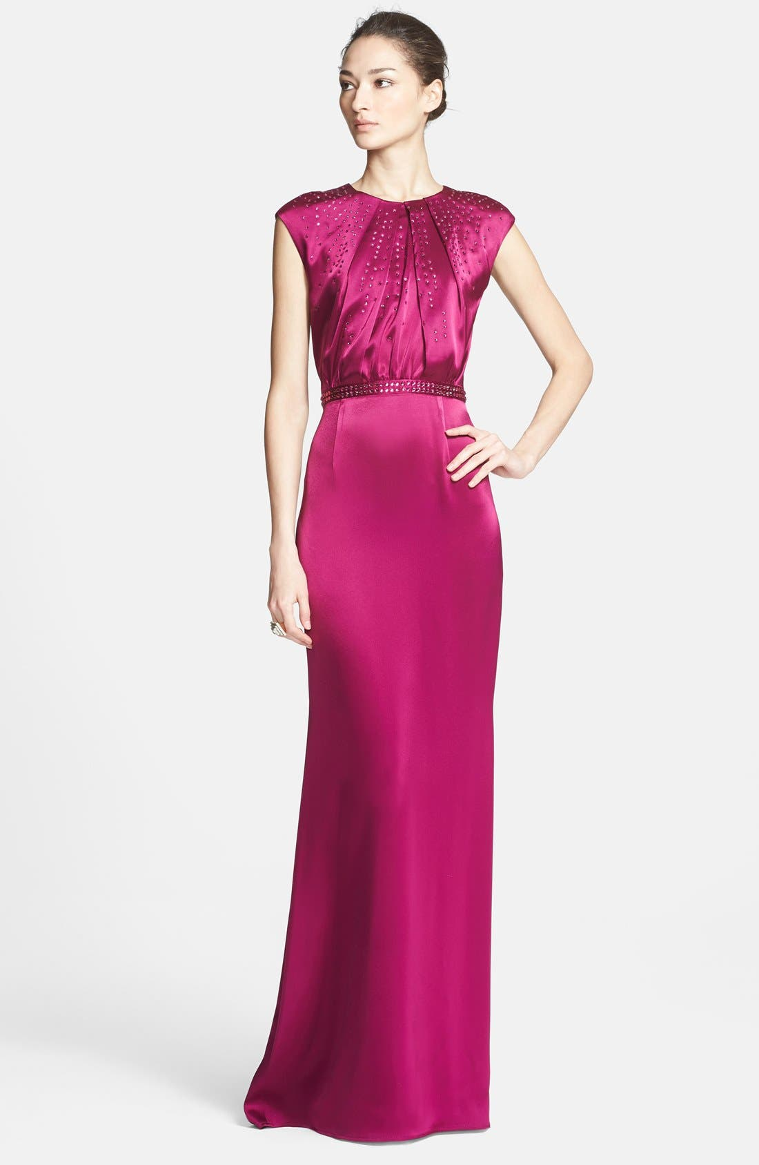Main Image - St. John Collection Embellished Liquid Satin Gown with Train