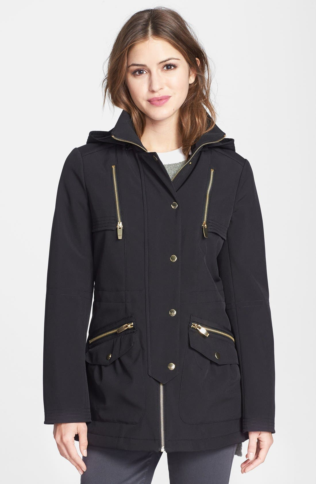 Main Image - Via Spiga Soft Shell Anorak with Removable Hood (Online Only)