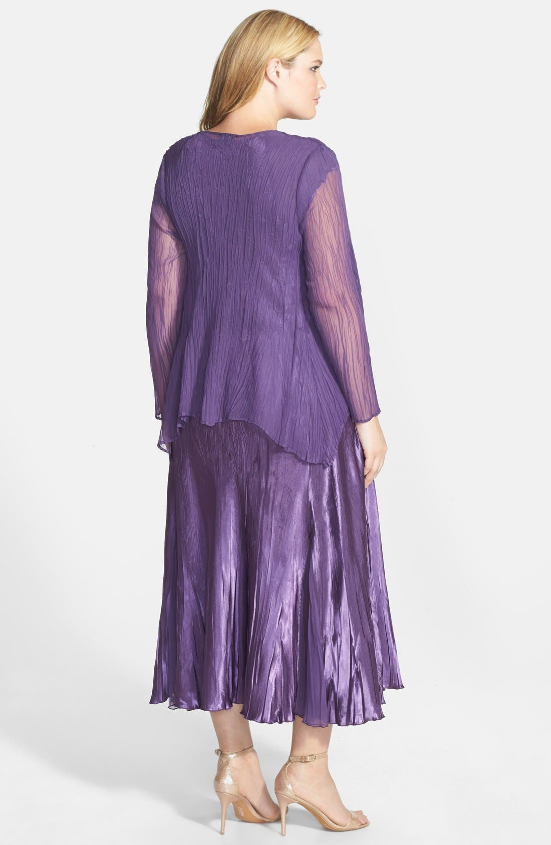 Alternate Image 2  - Komarov Charmeuse Dress & Chiffon Jacket (Plus Size)