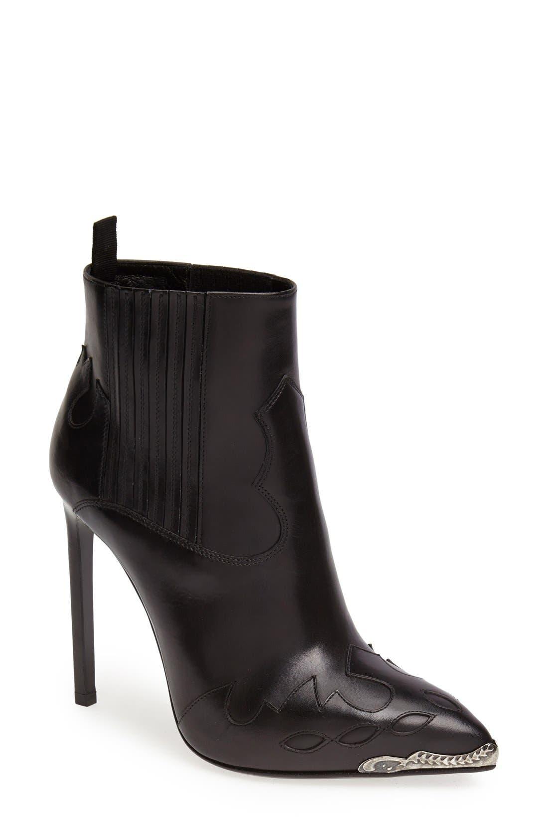 Alternate Image 1 Selected - Saint Laurent Metallic Toe Bootie (Women)
