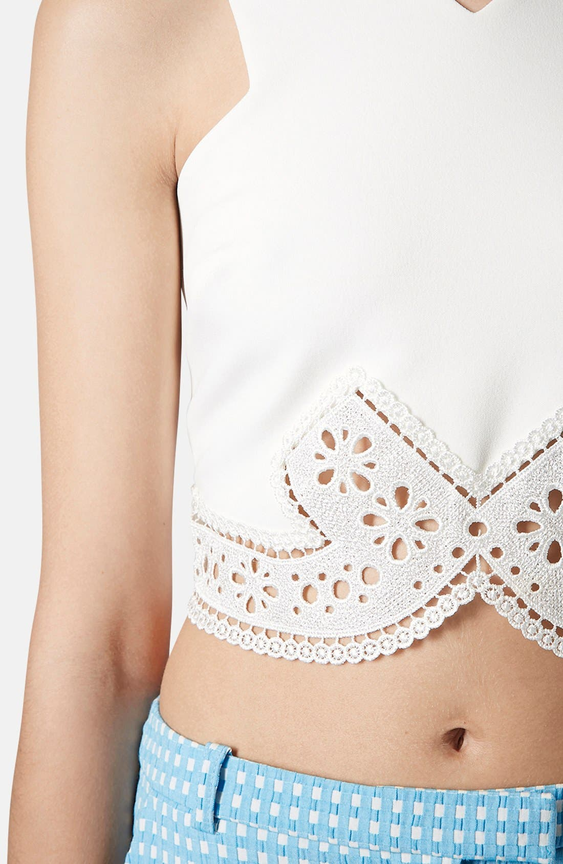 Alternate Image 4  - Topshop Lace Trim Crop Top