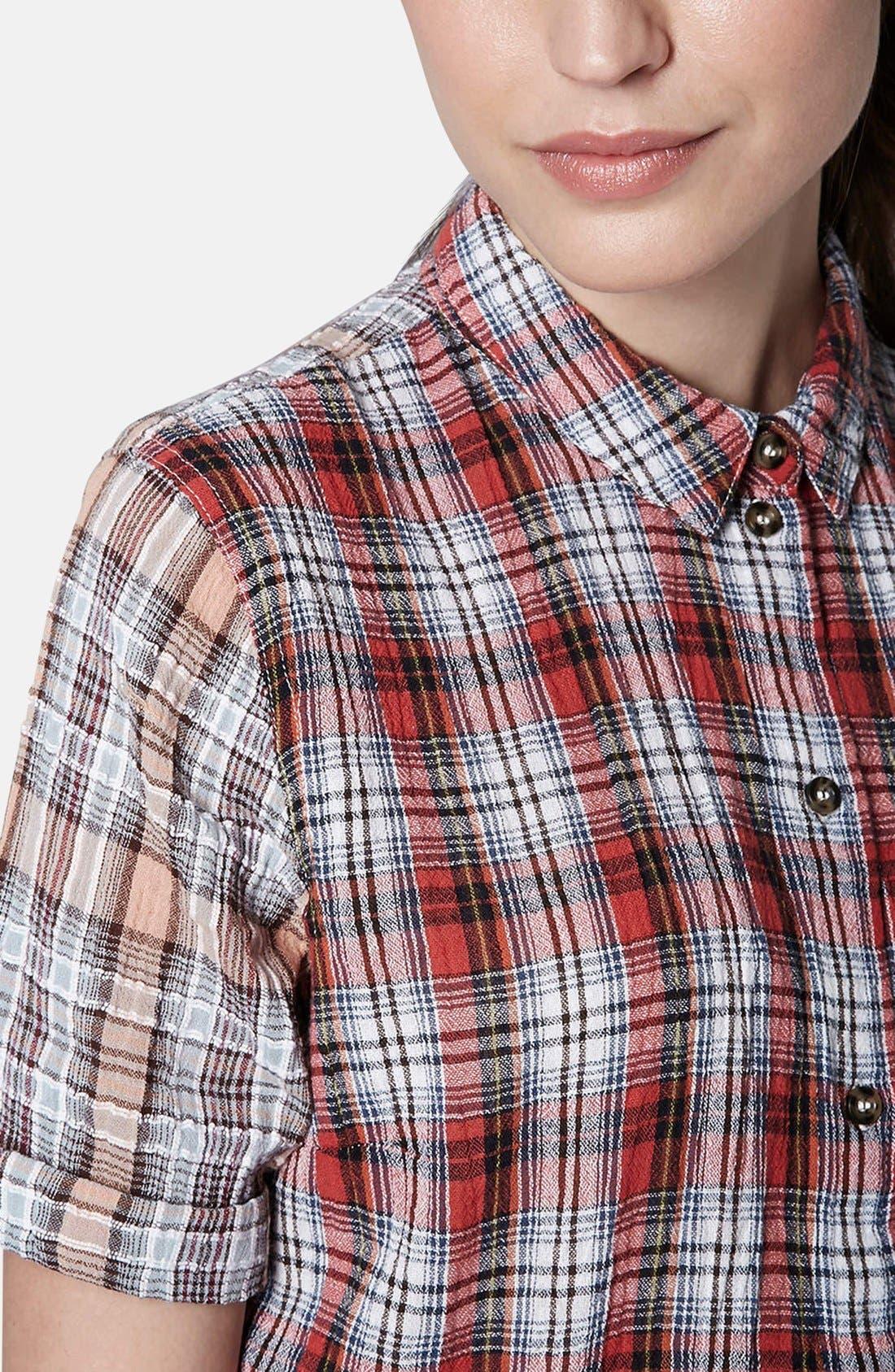 Alternate Image 4  - Topshop Check Seersucker Shirt