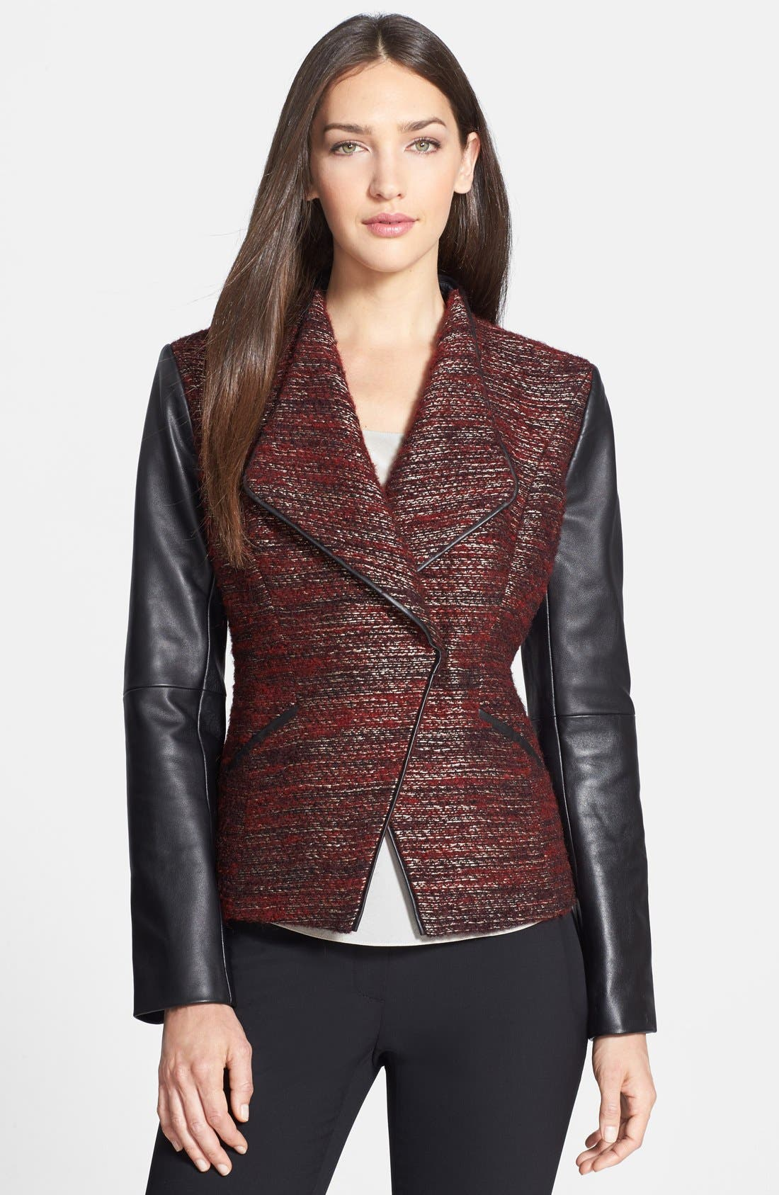 Alternate Image 1 Selected - Classiques Entier® 'Larch' Tweed & Leather Jacket
