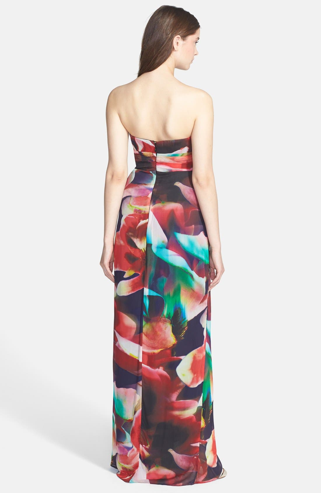 Alternate Image 2  - Nicole Miller 'Petal Power' Print Empire Chiffon Gown