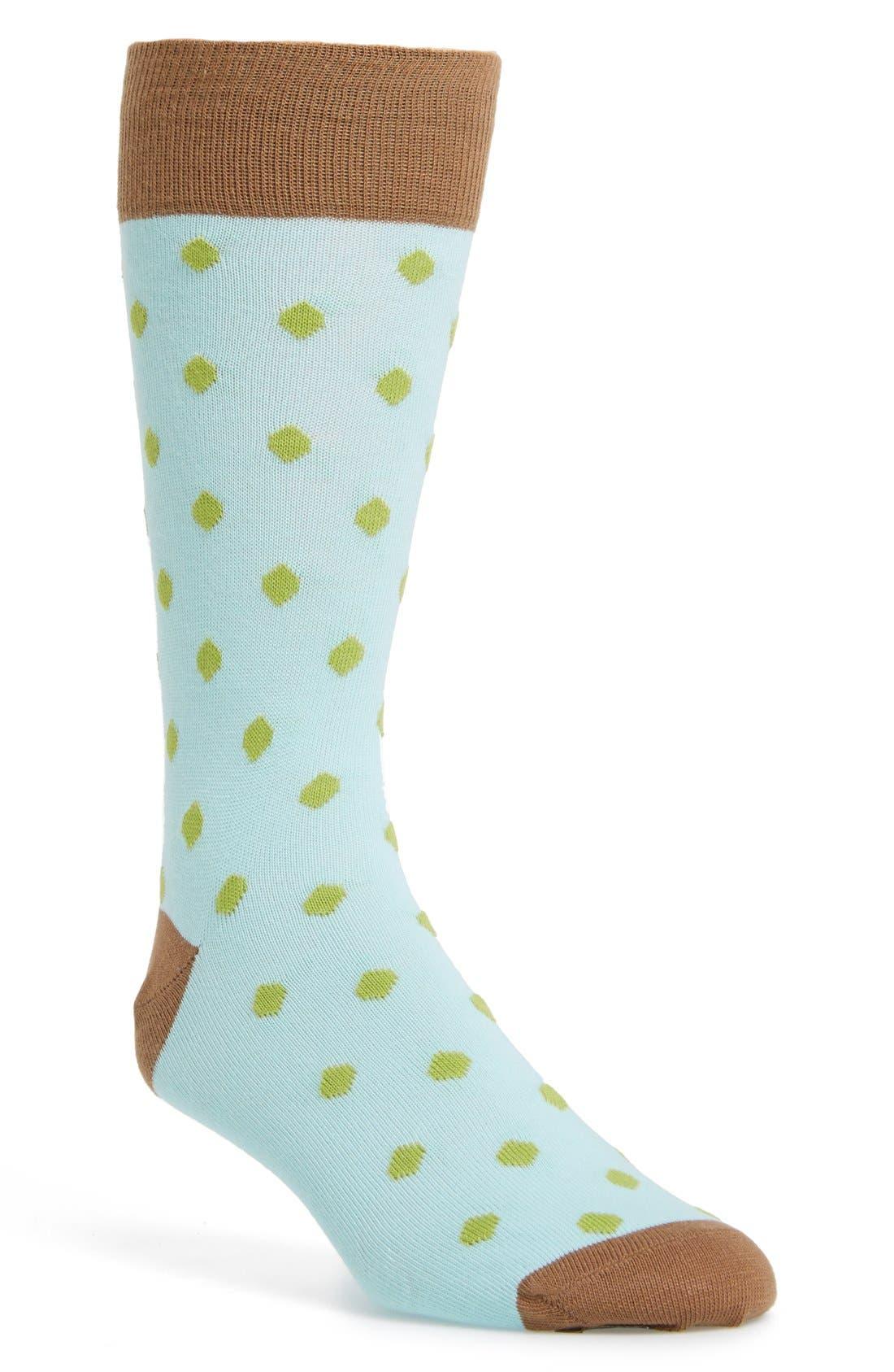 Main Image - Lorenzo Uomo Organic Leaf Dot Socks