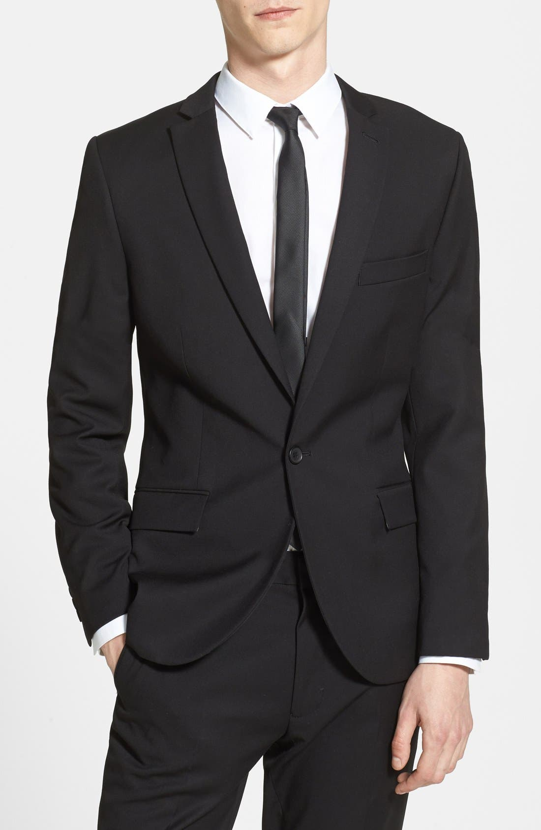 Main Image - Topman Black Textured Skinny Fit Suit Jacket