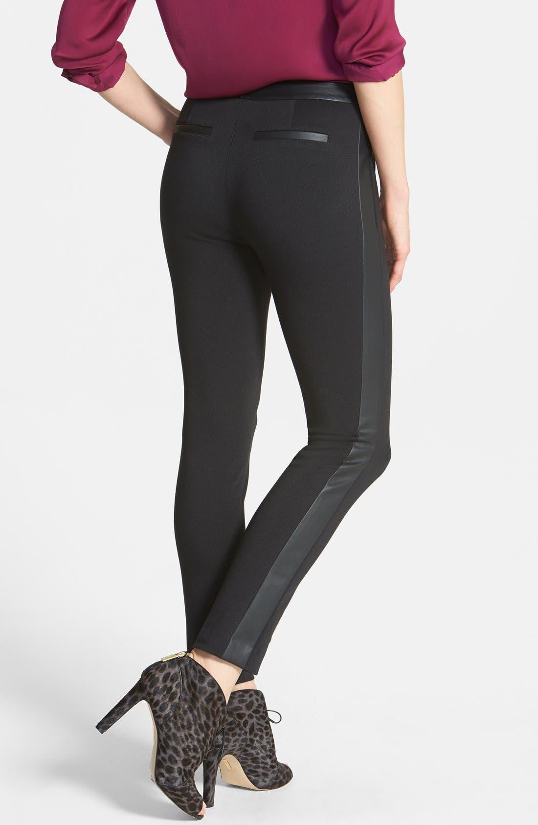 Alternate Image 2  - Halogen® Faux Leather Trim Skinny Ankle Pants (Regular & Petite)