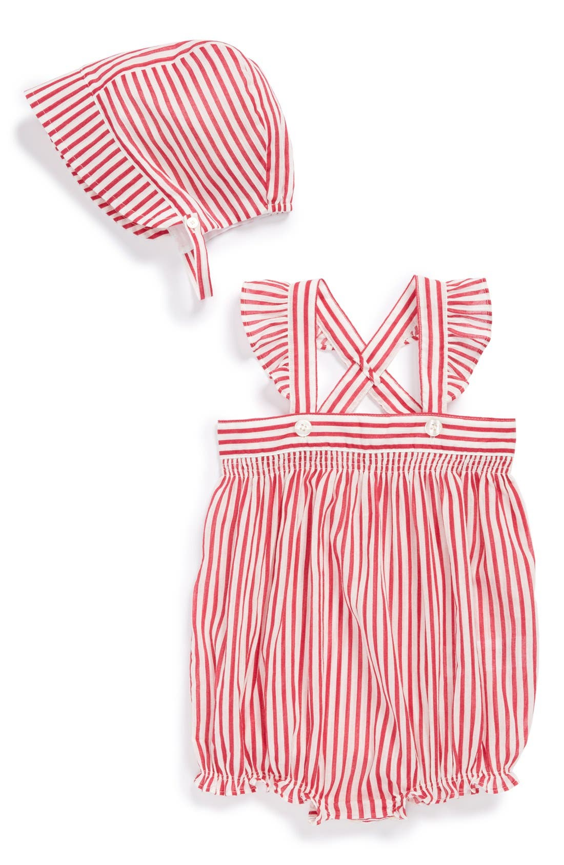 Alternate Image 1 Selected - Burberry Stripe Overalls & Sun Hat (Baby Girls)