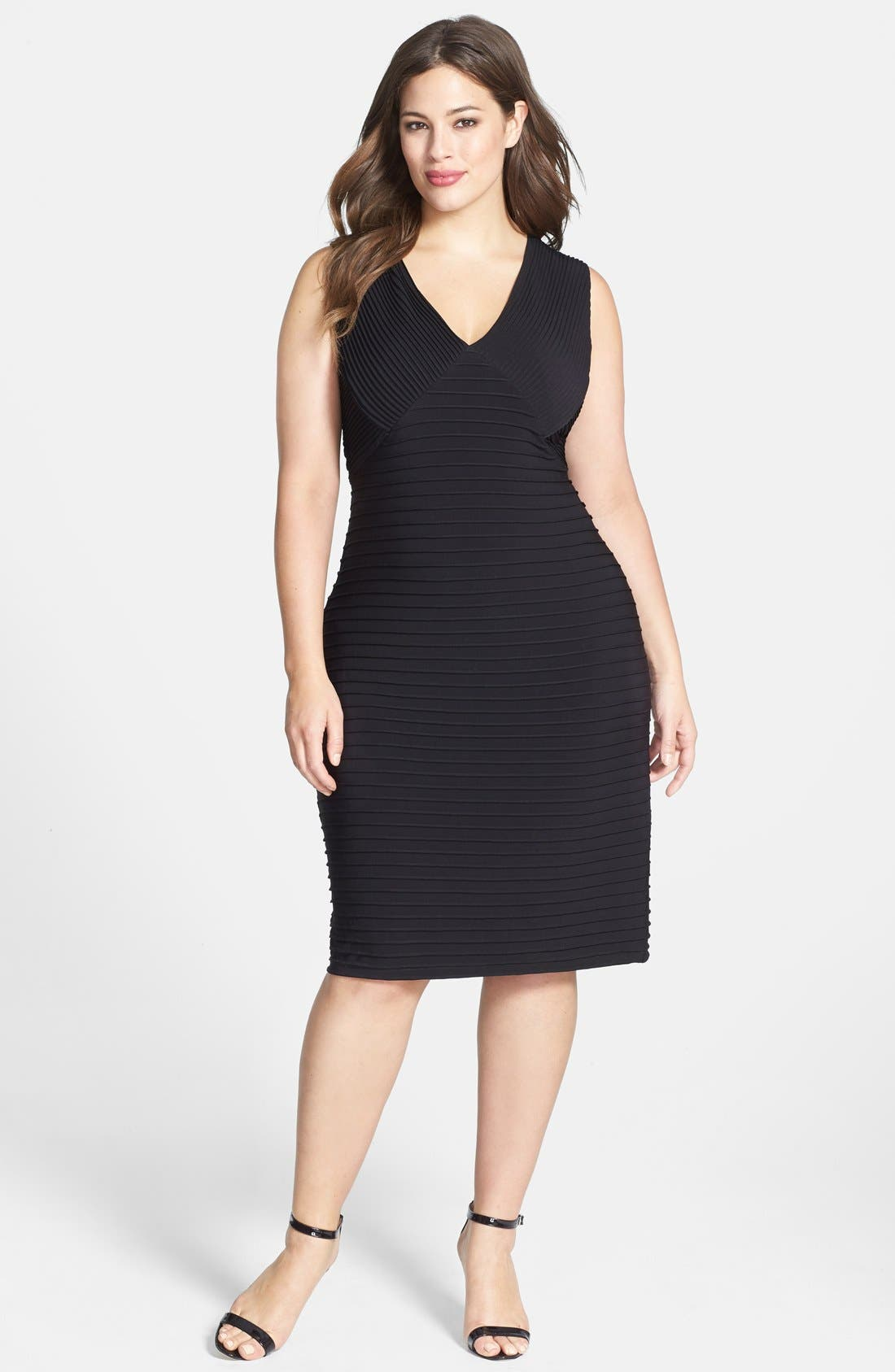 Alternate Image 1 Selected - Calvin Klein Pintuck V-Neck Sheath Dress (Plus Size)