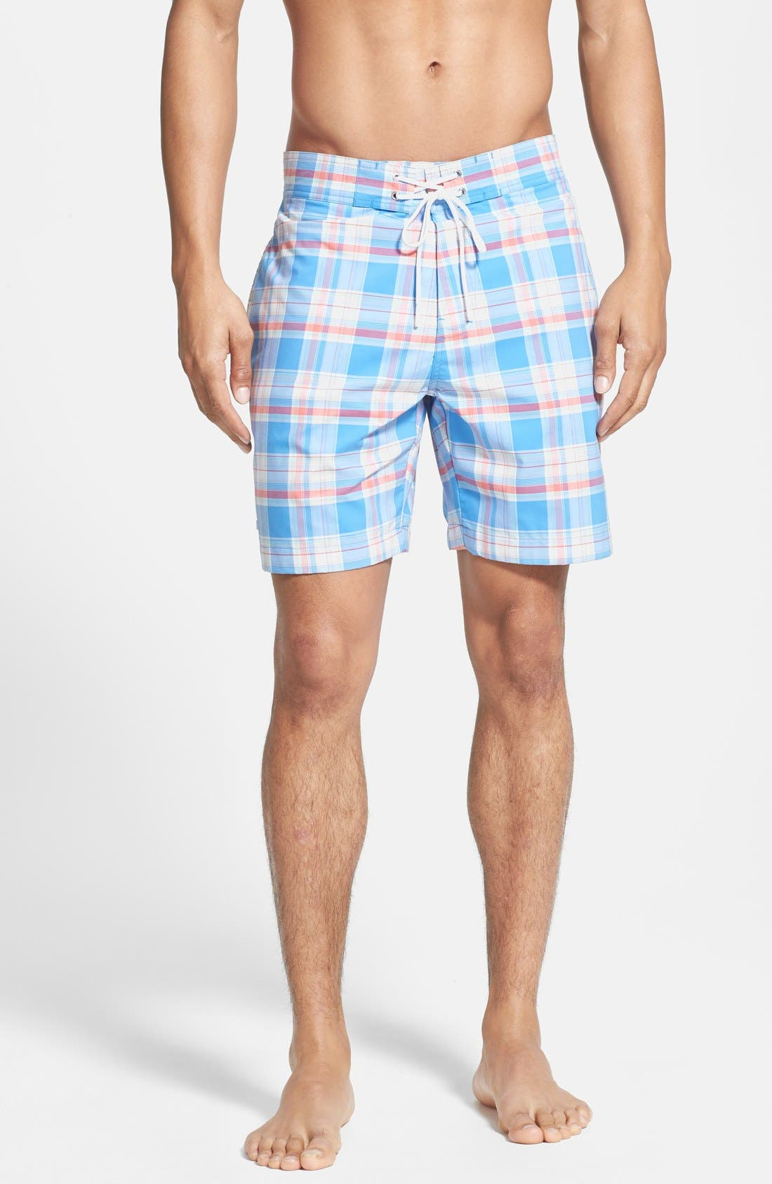 Main Image - Lacoste Plaid Swim Shorts
