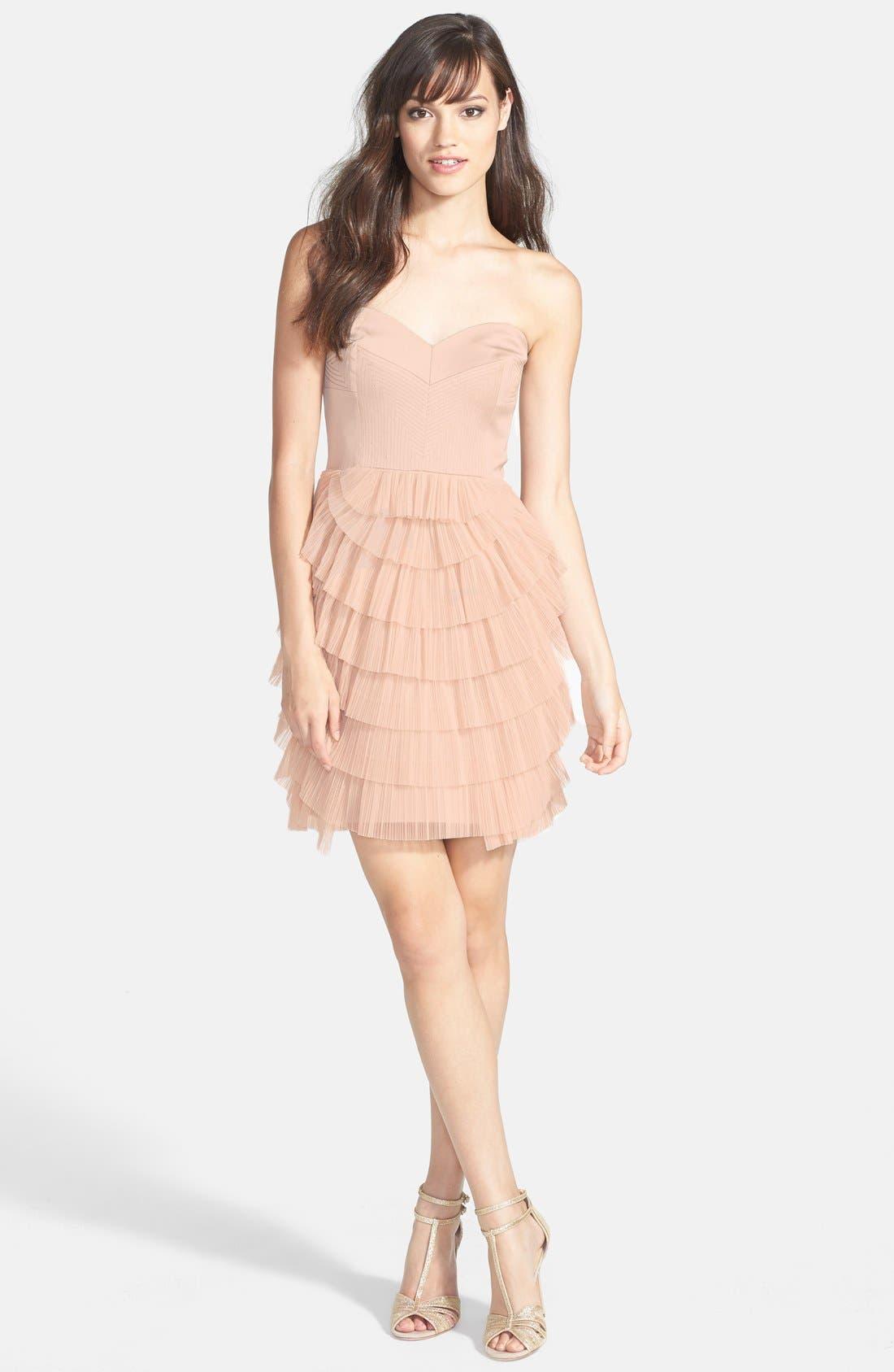 Alternate Image 3  - BCBGMAXAZRIA Tiered Mixed Media Fit & Flare Dress