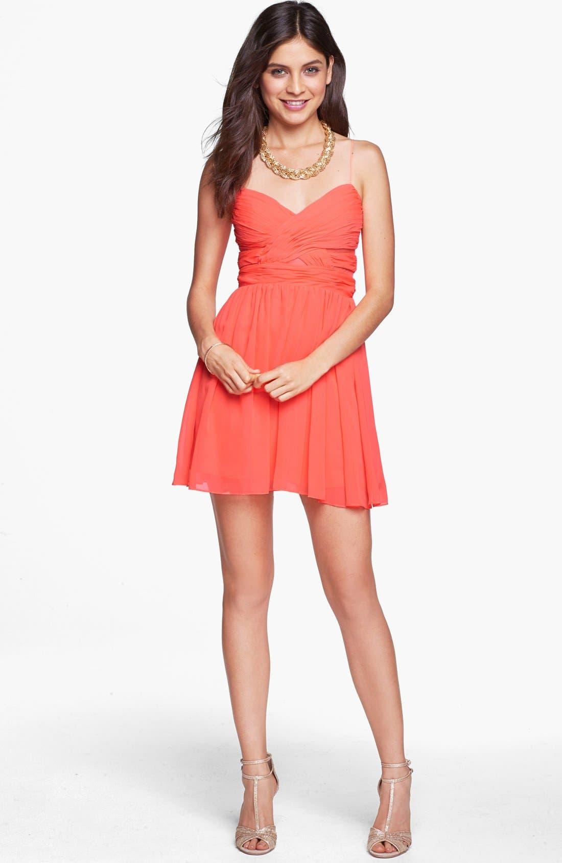 Alternate Image 1 Selected - Hailey Logan Cutout Chiffon Dress (Juniors)
