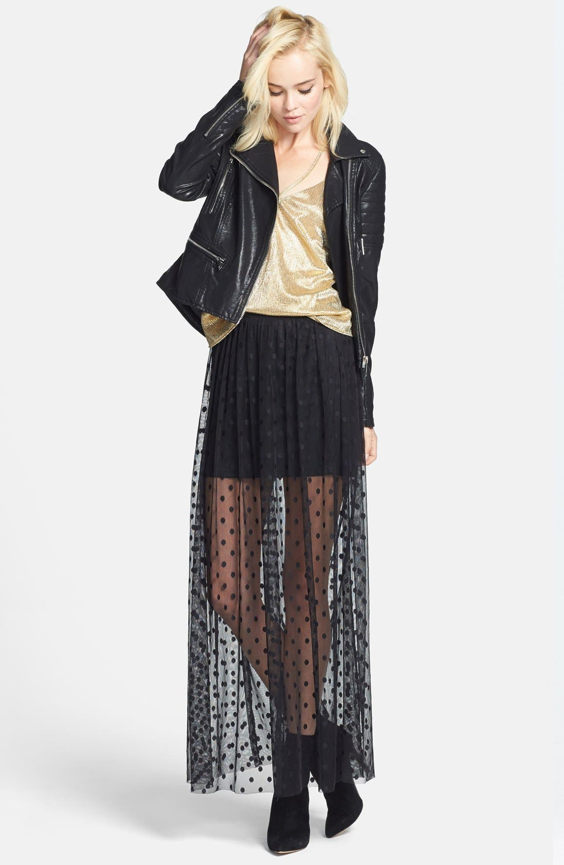 Alternate Image 4  - ASTR Polka Dot Sheer Maxi Skirt (Nordstrom Exclusive)