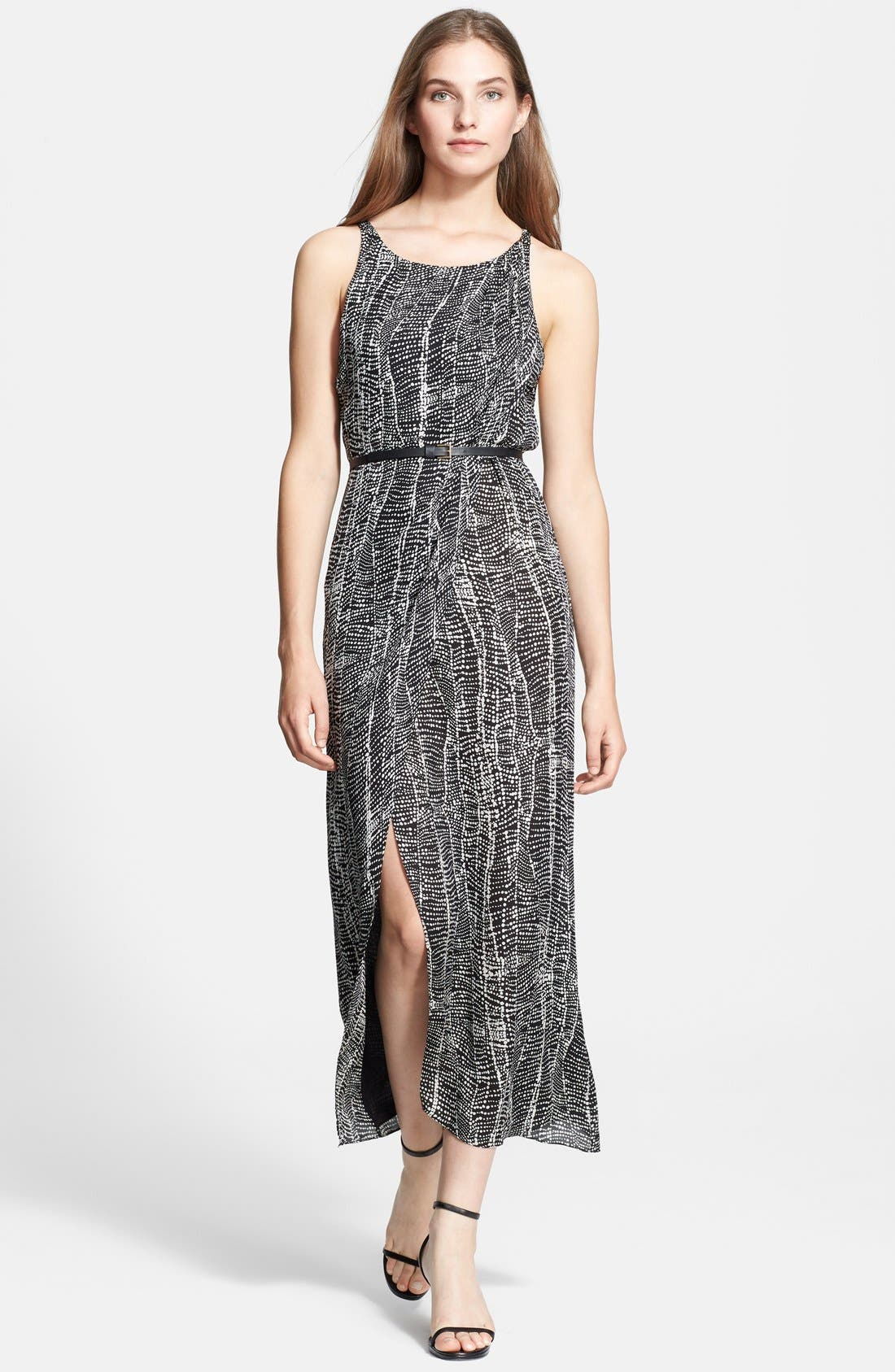Main Image - Halston Heritage Belted Georgette Maxi Dress