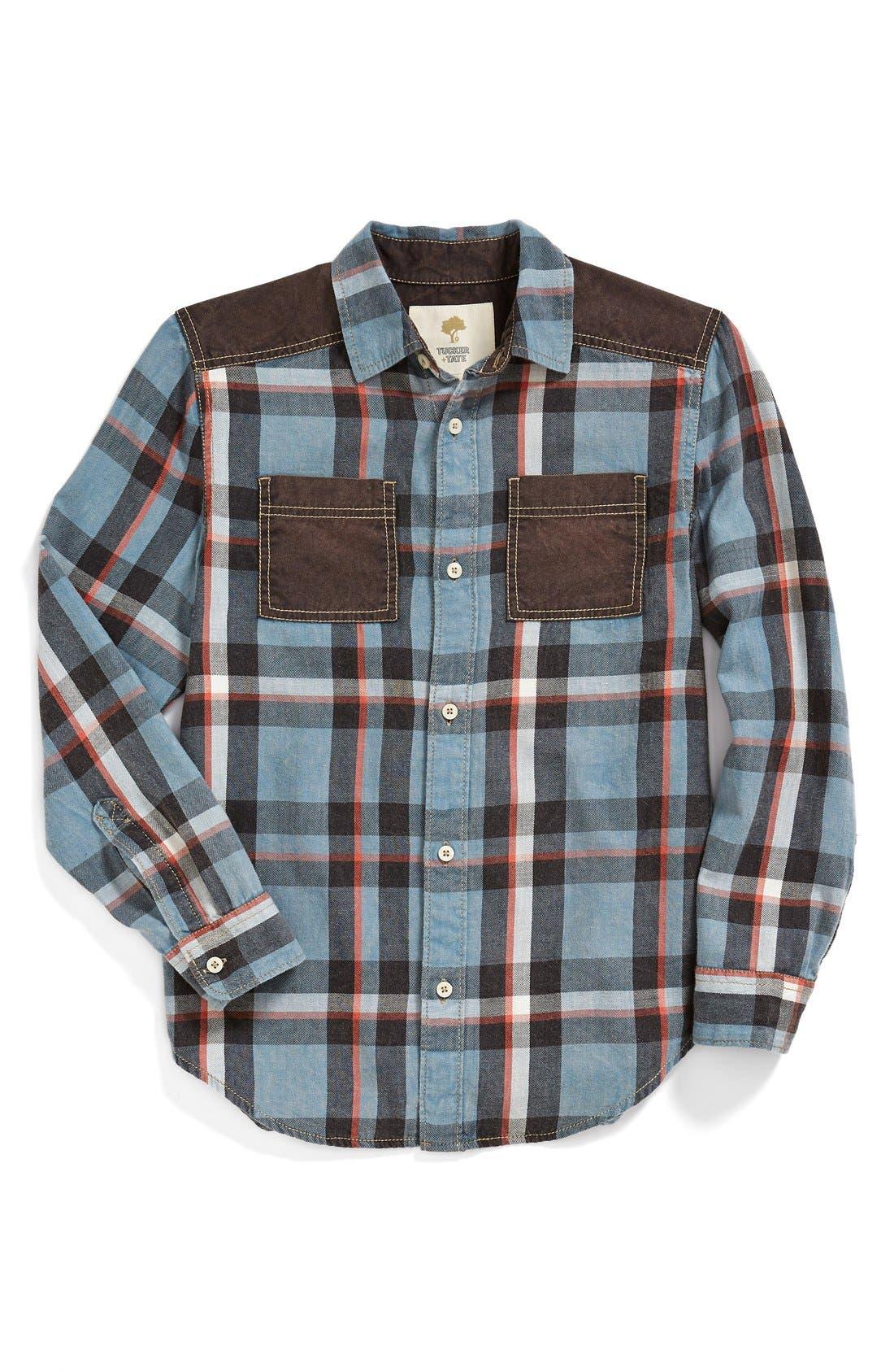 Alternate Image 1 Selected - Tucker + Tate 'Lenny' Contrast Trim Long Sleeve Shirt (Big Boys)