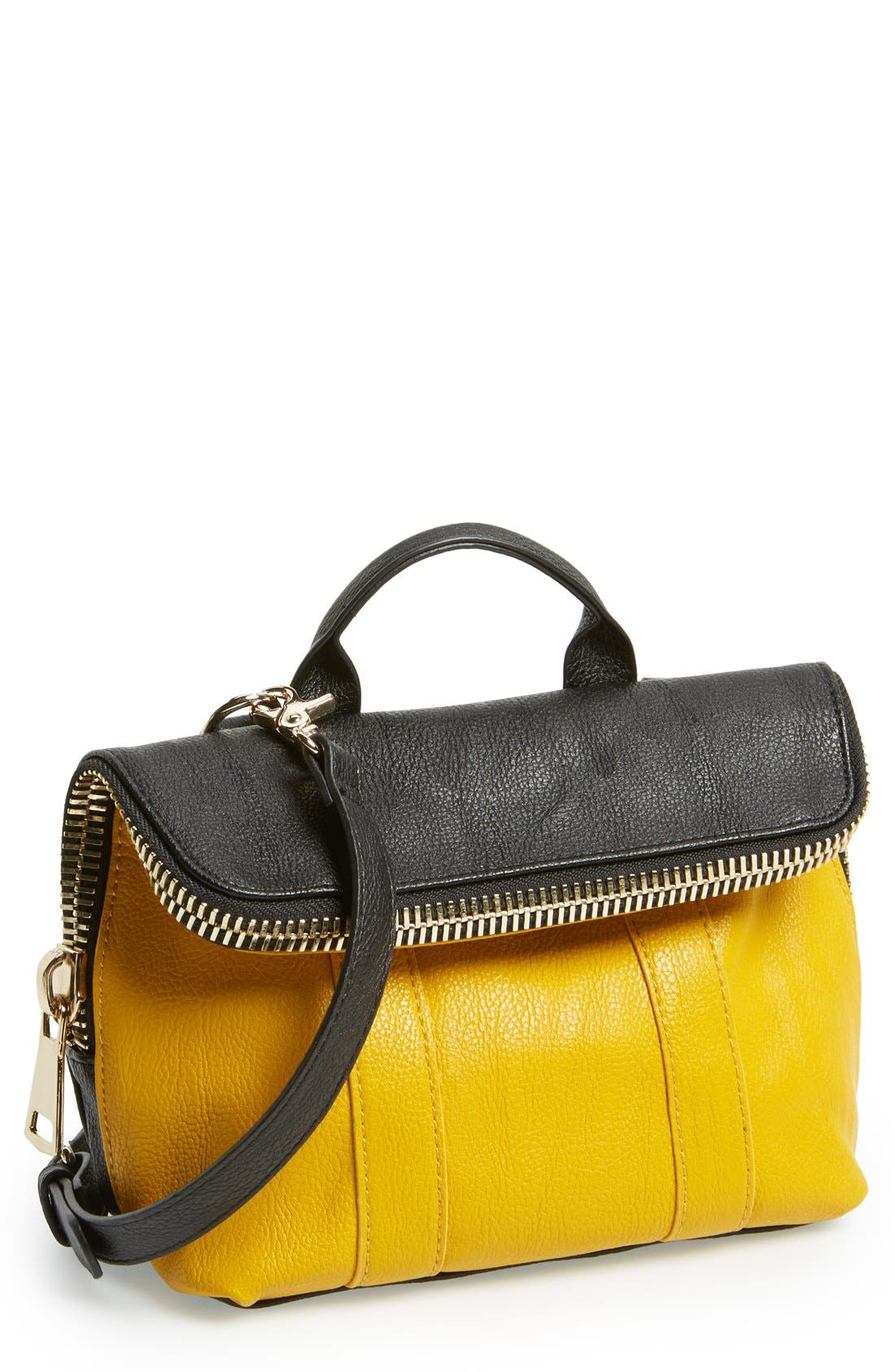 Alternate Image 1 Selected - POVERTY FLATS by rian 'Super' Zip Top Foldover Crossbody Bag