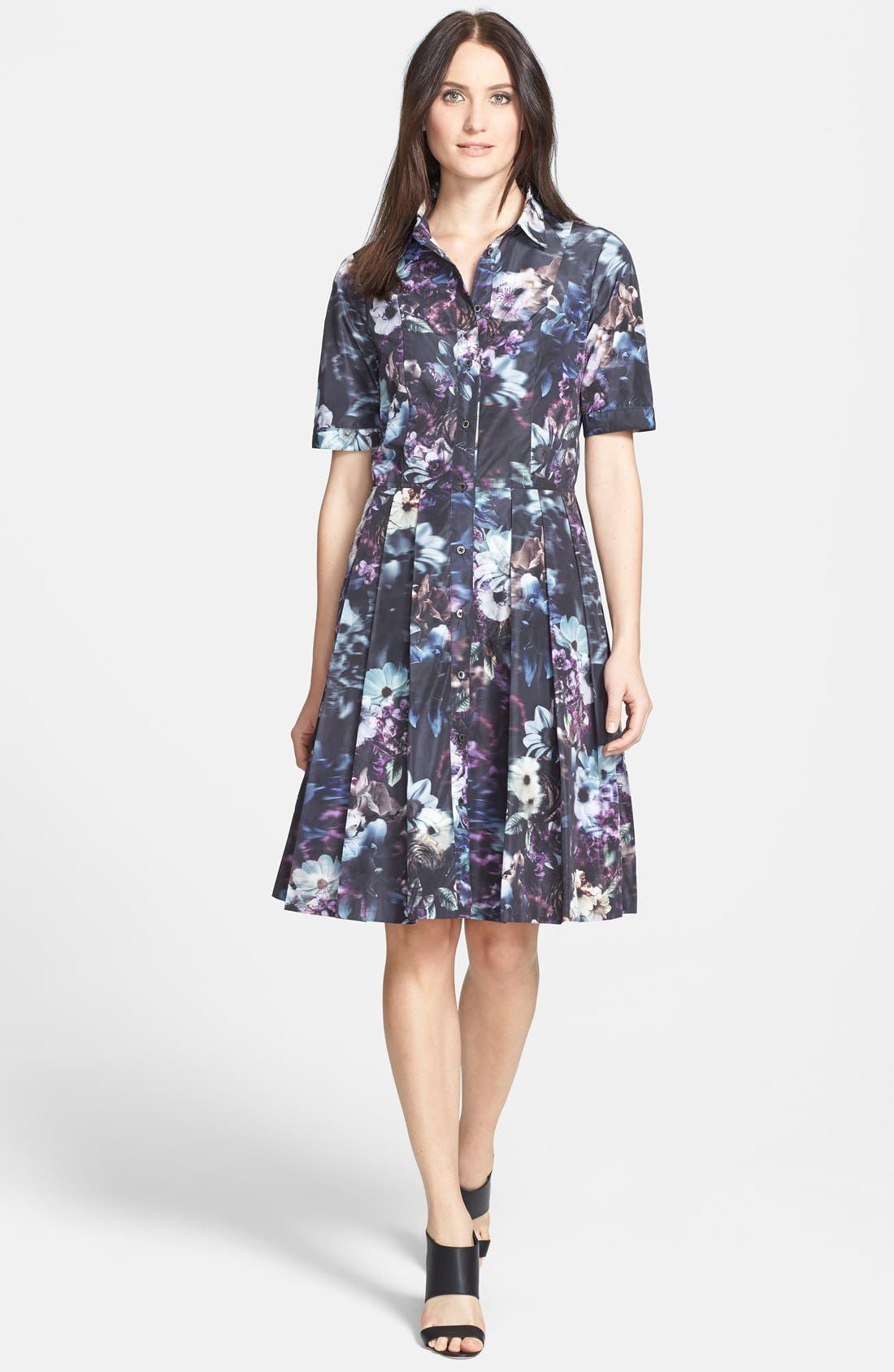 Alternate Image 1 Selected - Pink Tartan 'Midnight Floral' Print Fit & Flare Shirtdress