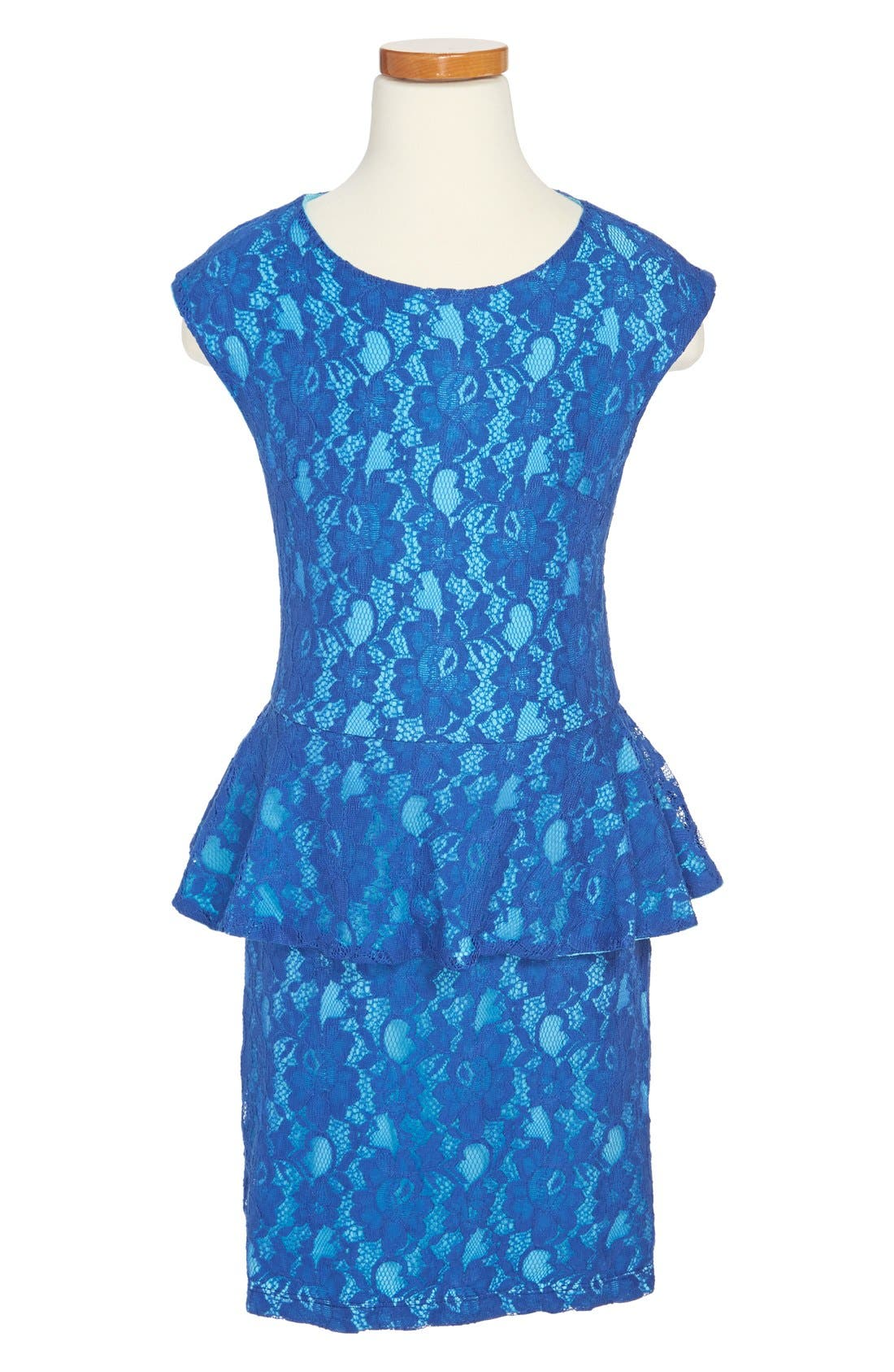 Main Image - Miss Behave 'Piper' Peplum Lace Dress (Big Girls)