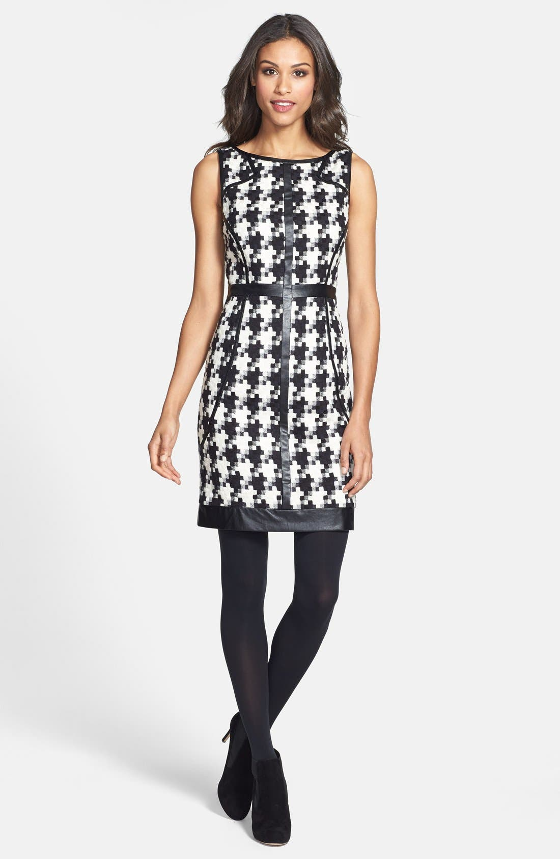 Alternate Image 3  - Laundry by Shelli Segal Faux Leather Trim Houndstooth Sheath Dress