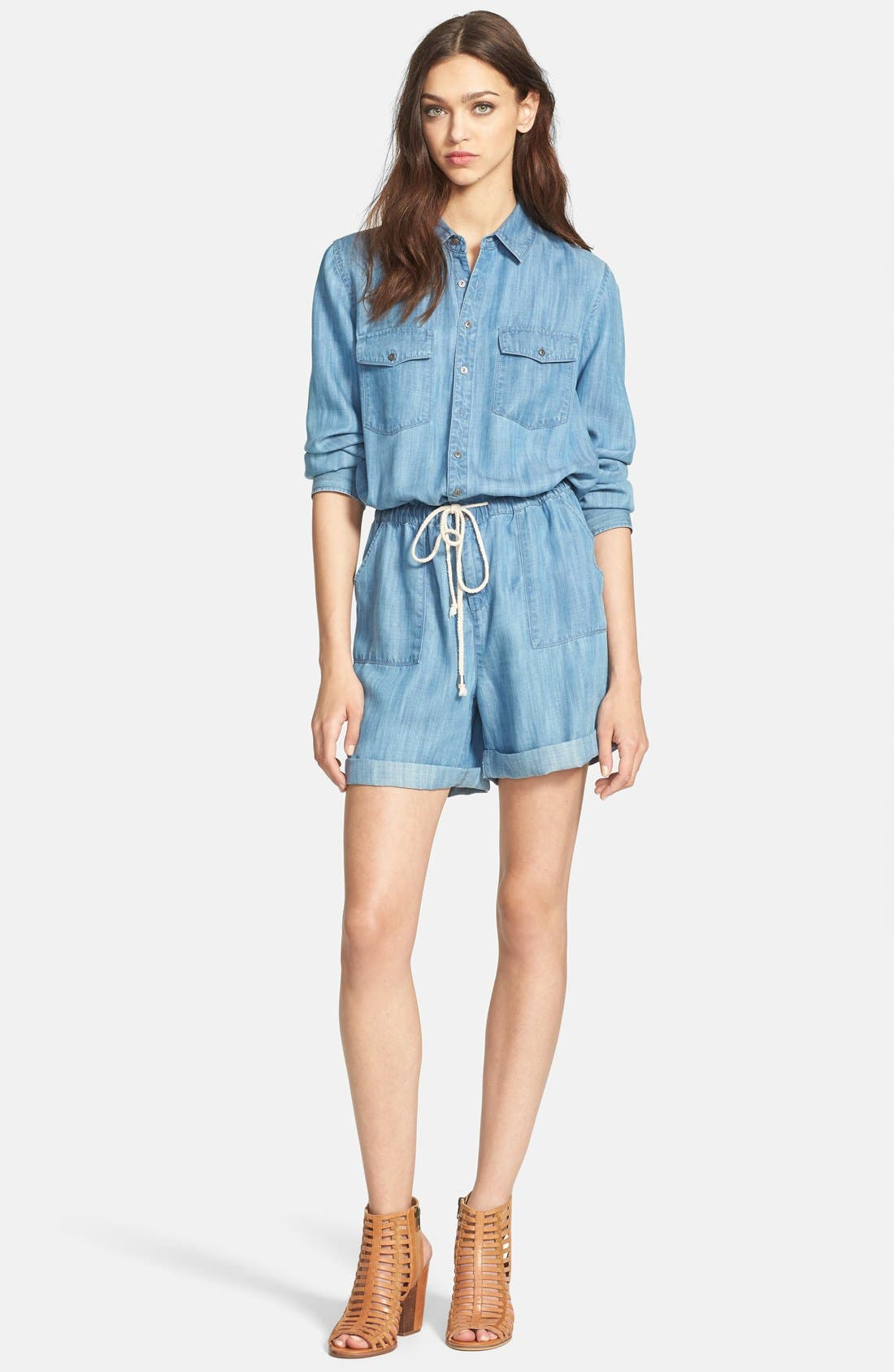 Alternate Image 1 Selected - Hinge® Long Sleeve Chambray Romper