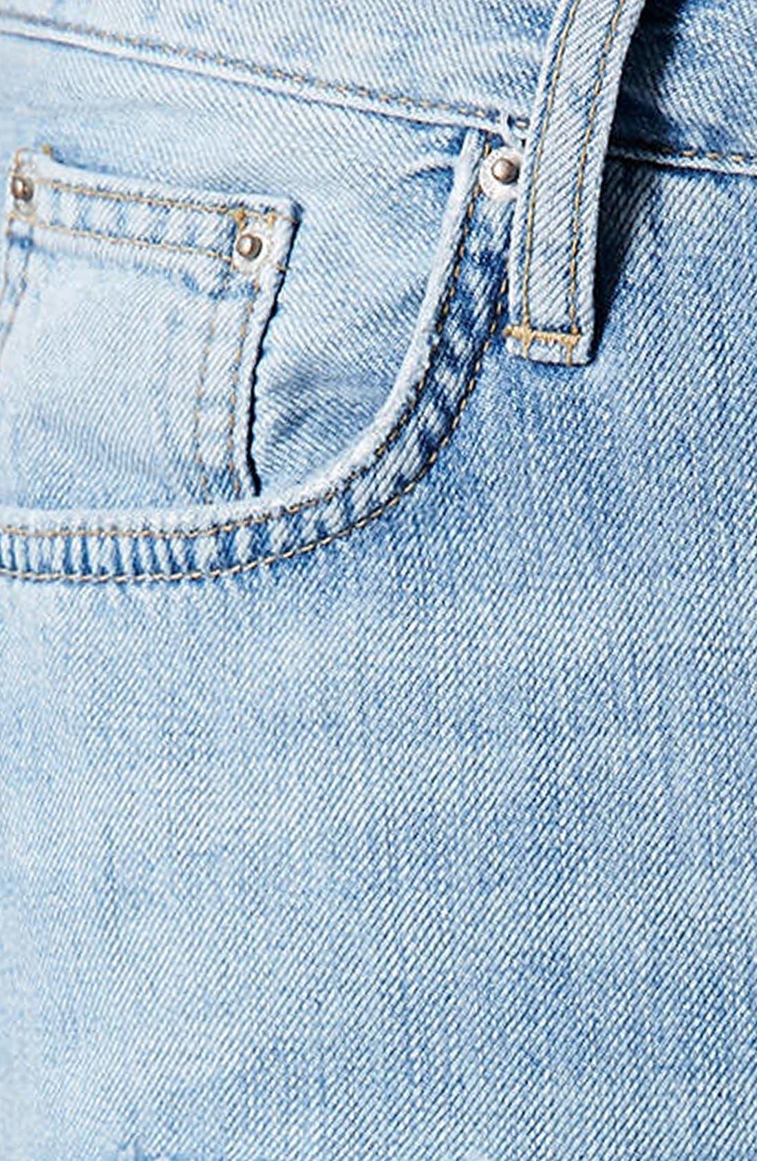 Alternate Image 4  - Topshop Moto Destroyed Boyfriend Jeans (Light Denim)