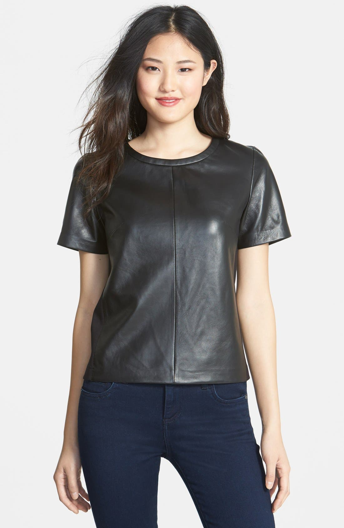 Alternate Image 1 Selected - Halogen® Leather Front Top (Regular & Petite) (Online Only)