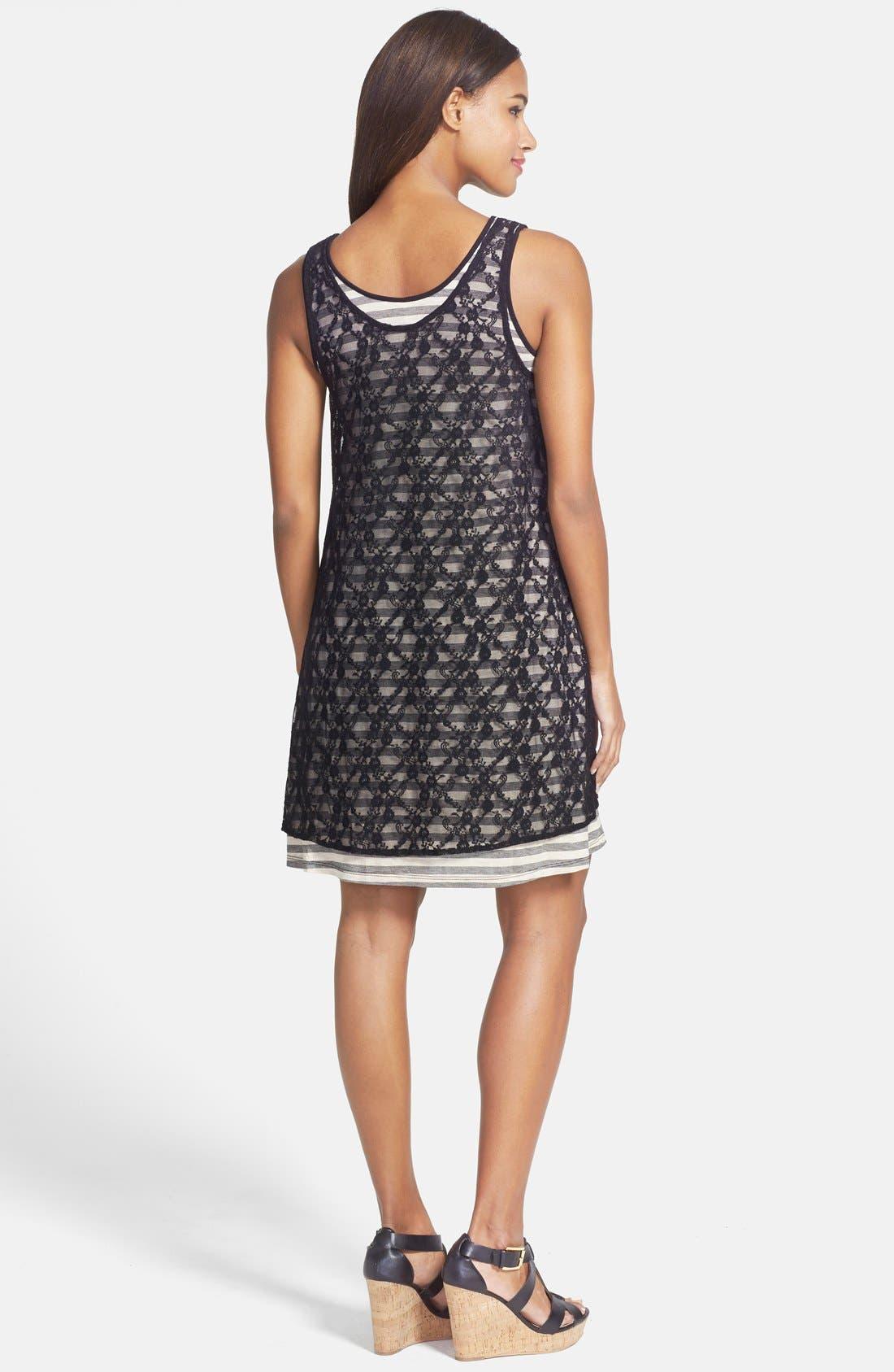 Alternate Image 2  - kensie Lace Overlay Stripe Jersey Dress