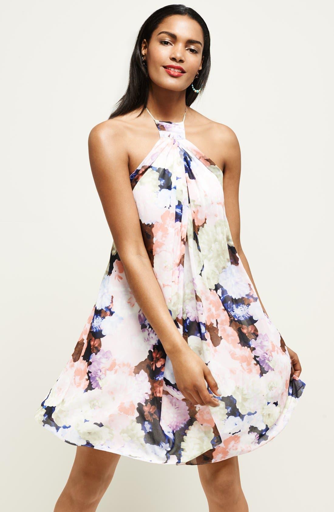 Alternate Image 5  - 1.STATE Floral Print Halter Dress