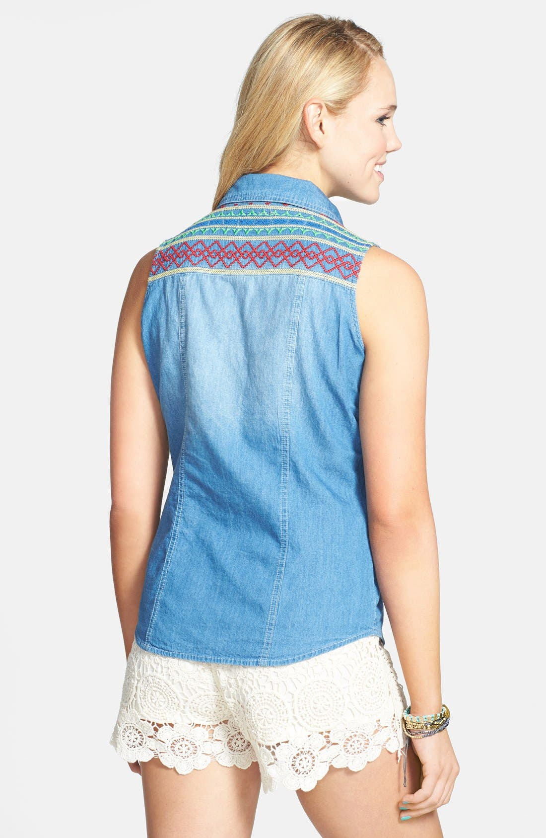 Alternate Image 2  - PPLA Embroidered Yoke Sleeveless Denim Shirt (Juniors)