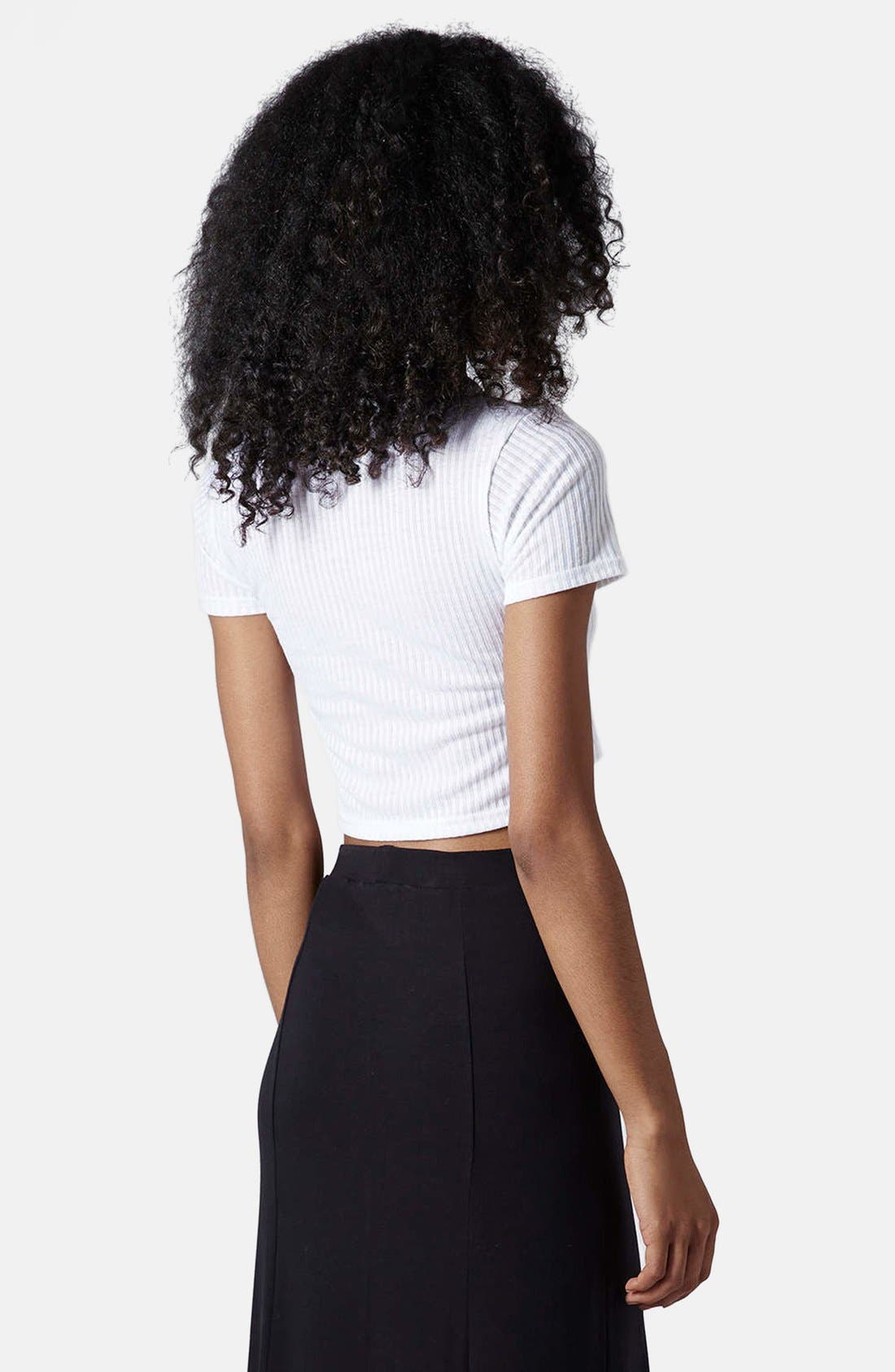 Alternate Image 2  - Topshop 'La Vie Boheme' Ribbed Crop Tee