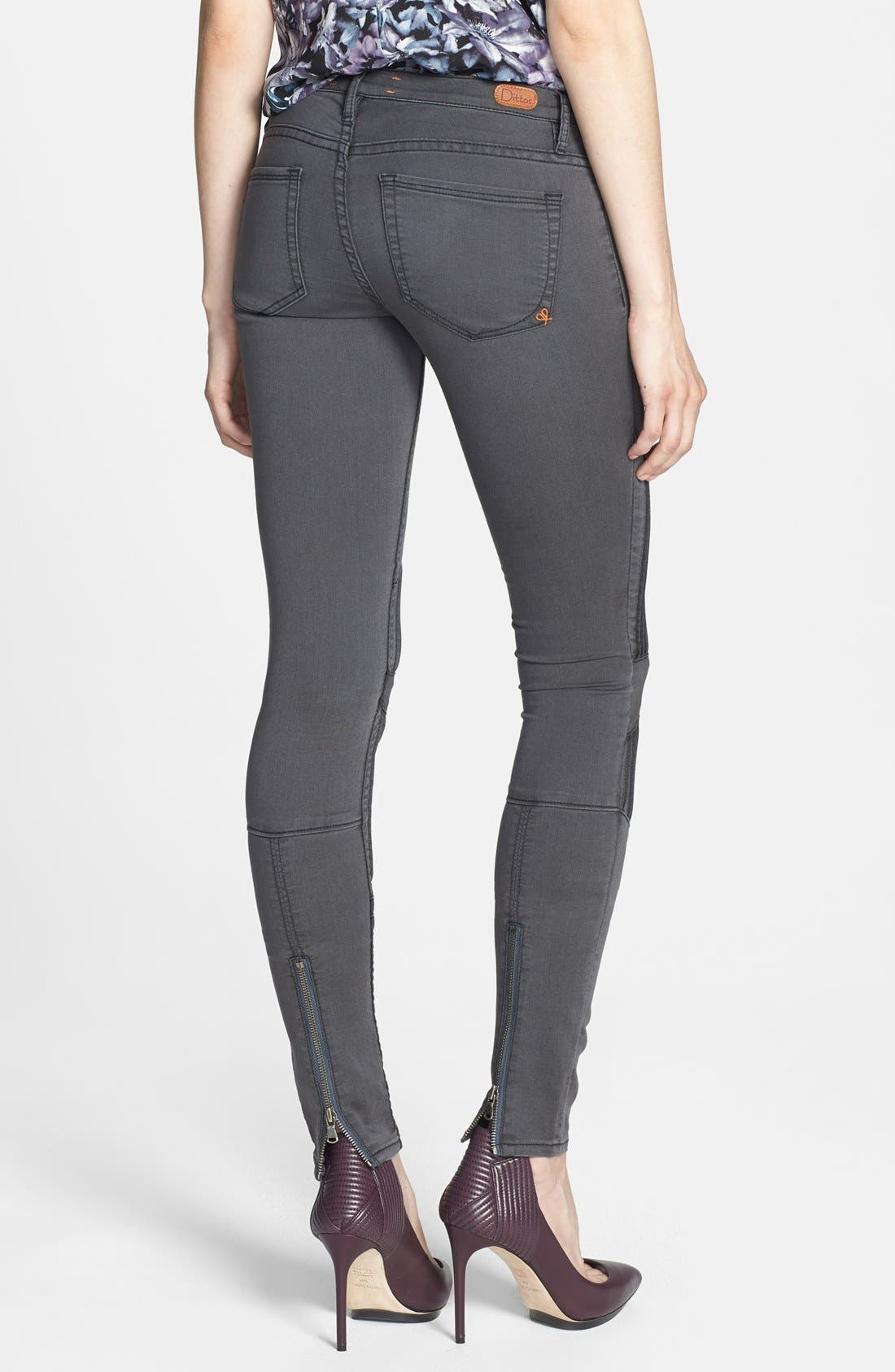 Alternate Image 2  - Dittos Seamed Moto Skinny Jeans (Grey Black Doheny)