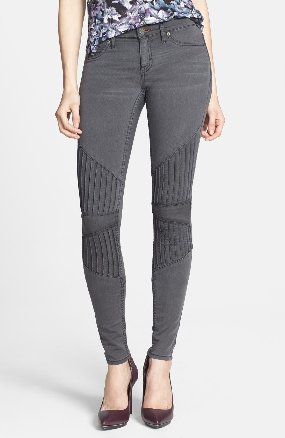 Alternate Image 1 Selected - Dittos Seamed Moto Skinny Jeans (Grey Black Doheny)