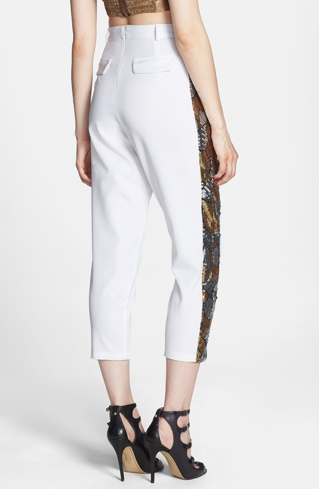 Alternate Image 2  - Rules of Etiquette Sequin Tuxedo Stripe Crop Pants