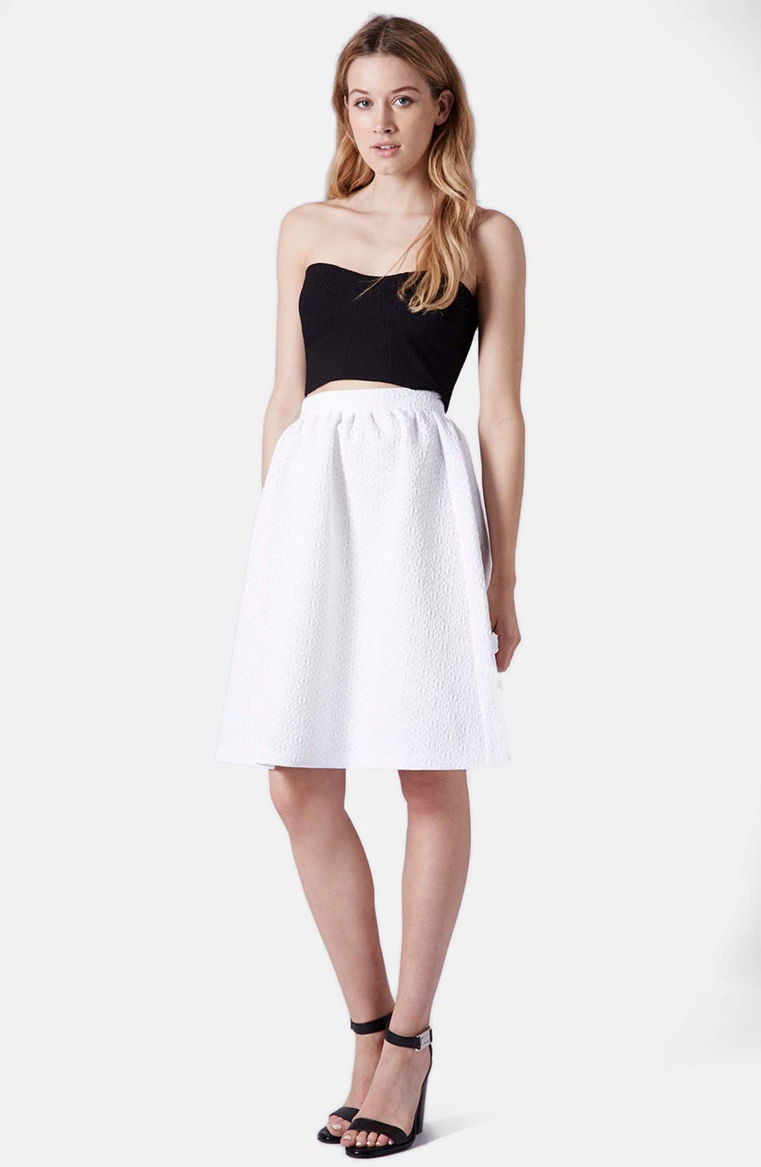 Alternate Image 5  - Topshop Daisy Jacquard Flare Skirt