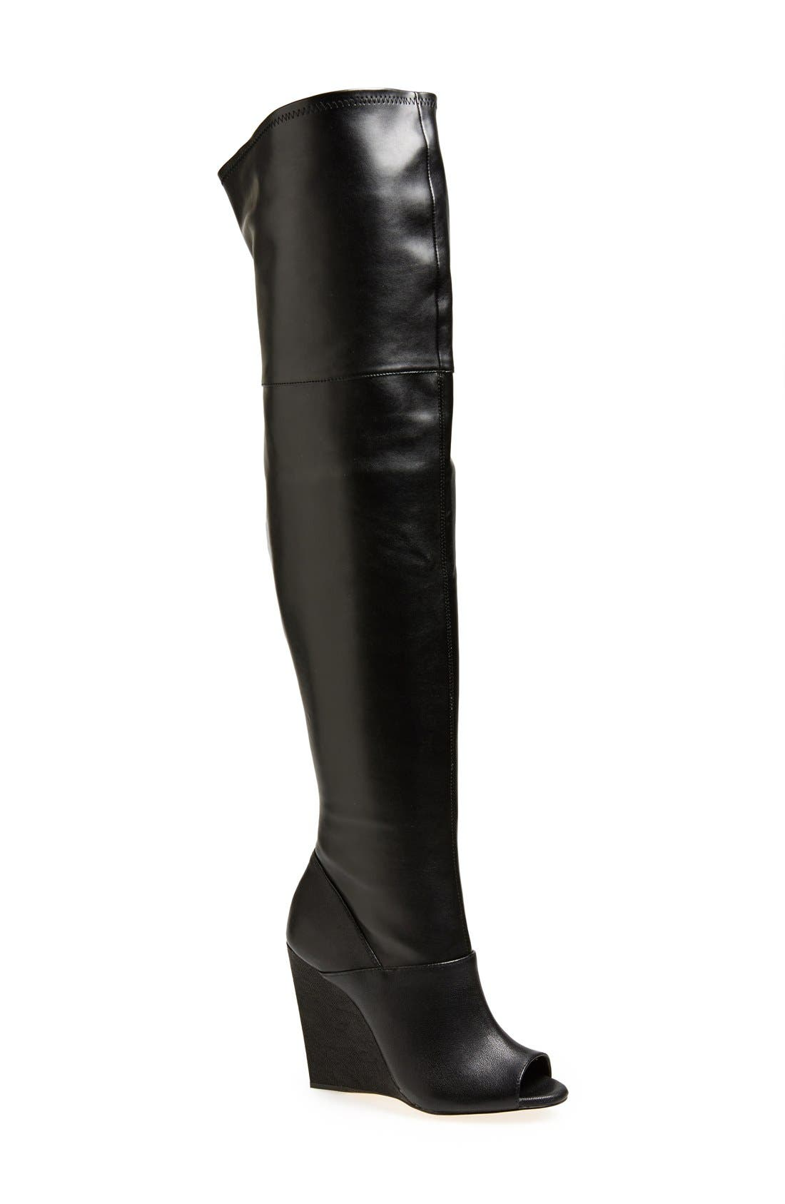 Alternate Image 1 Selected - BCBGMAXAZRIA 'Deanna' Over the Knee Leather Peep Toe Boot (Women)