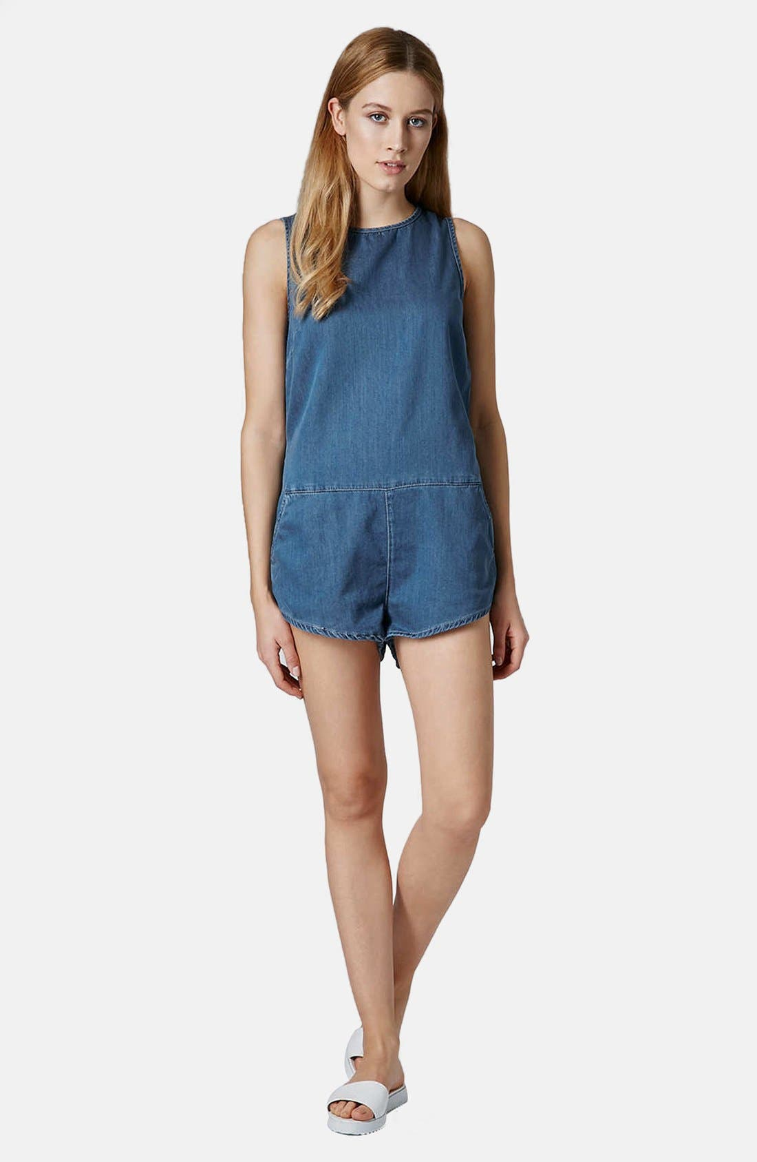 Alternate Image 5  - Topshop Chambray Romper