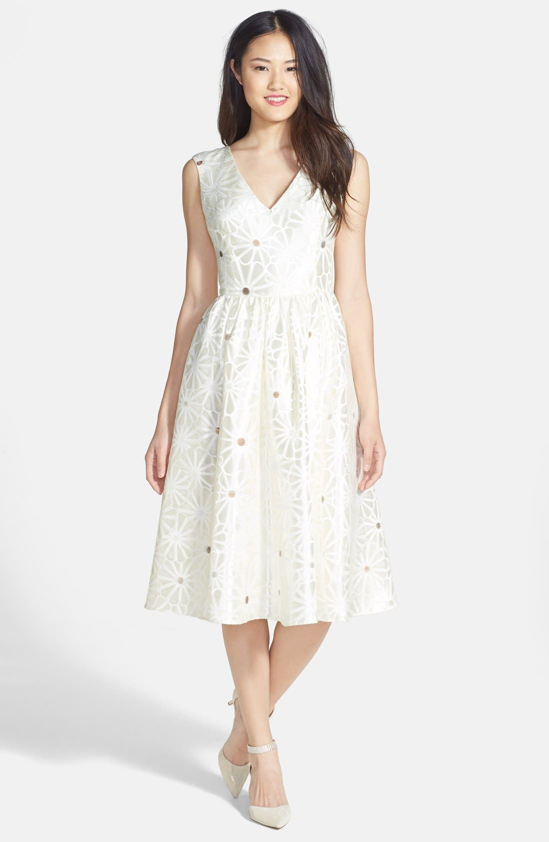 Alternate Image 1 Selected - Mikael Aghal Daisy Brocade Fit & Flare Dress