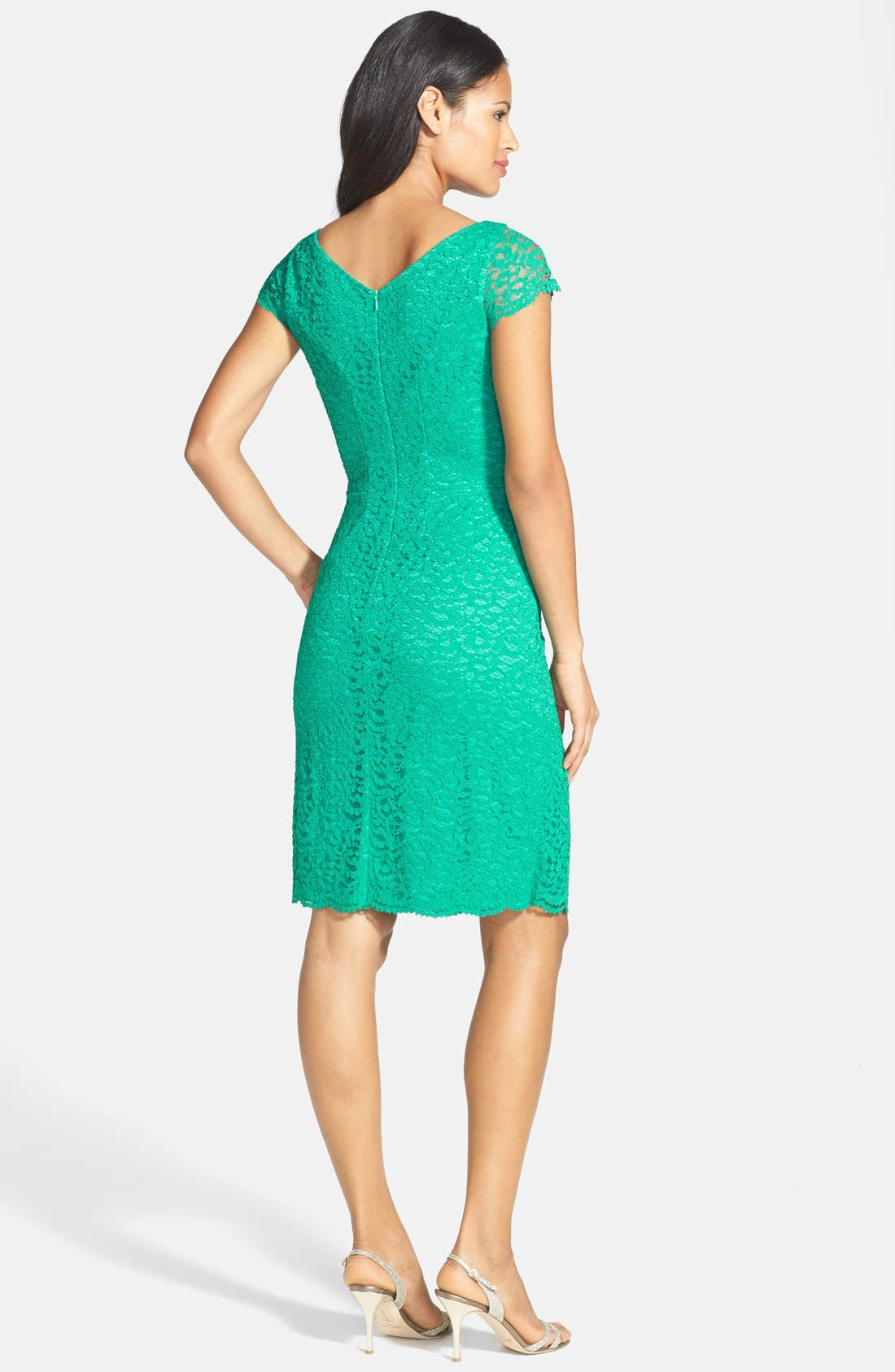 Alternate Image 2  - Donna Ricco Stretch Lace Dress (Regular & Petite)
