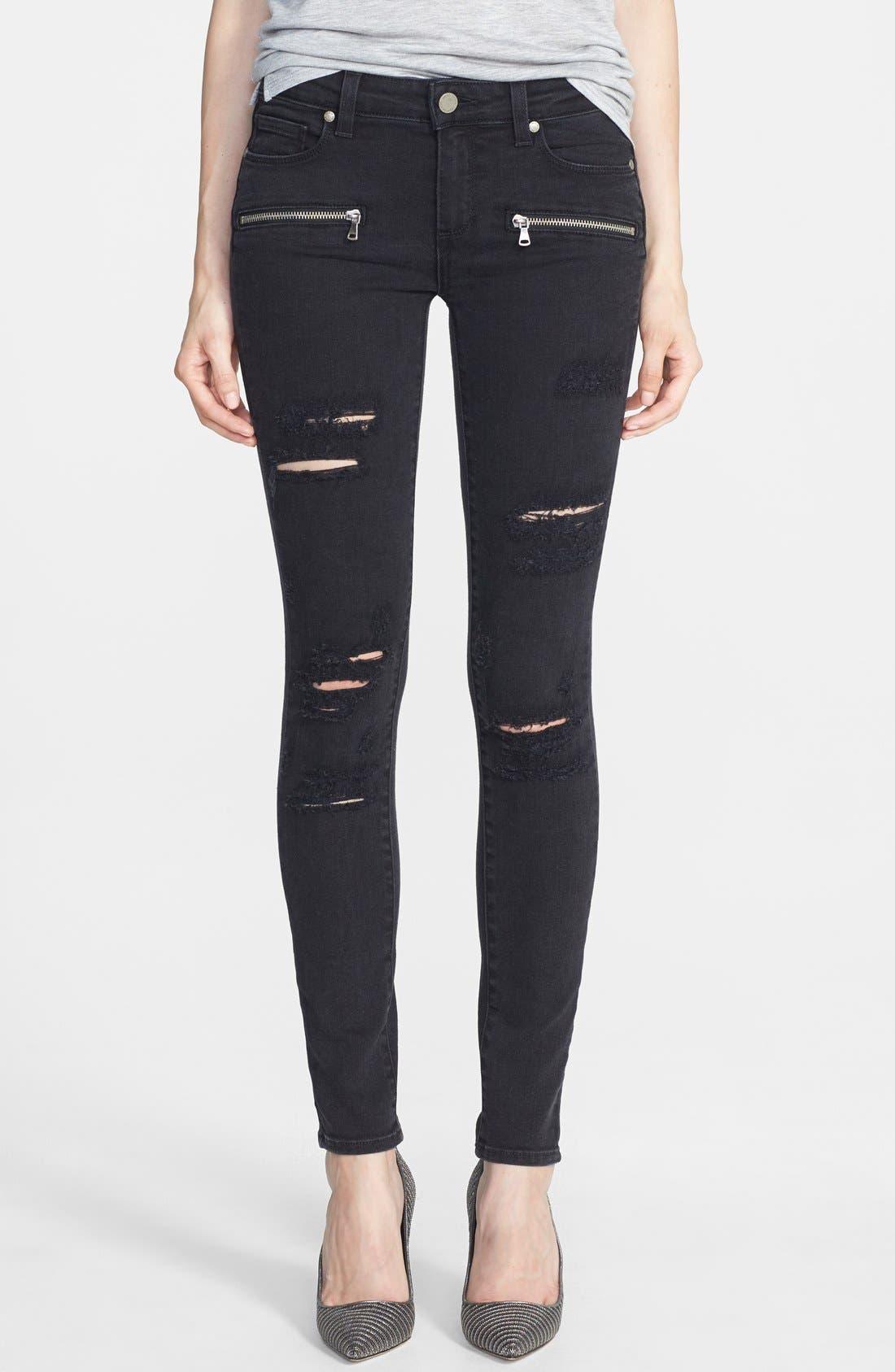 Main Image - Paige Denim 'Indio' Zip Detail Skinny Jeans (Ramone Destructed)